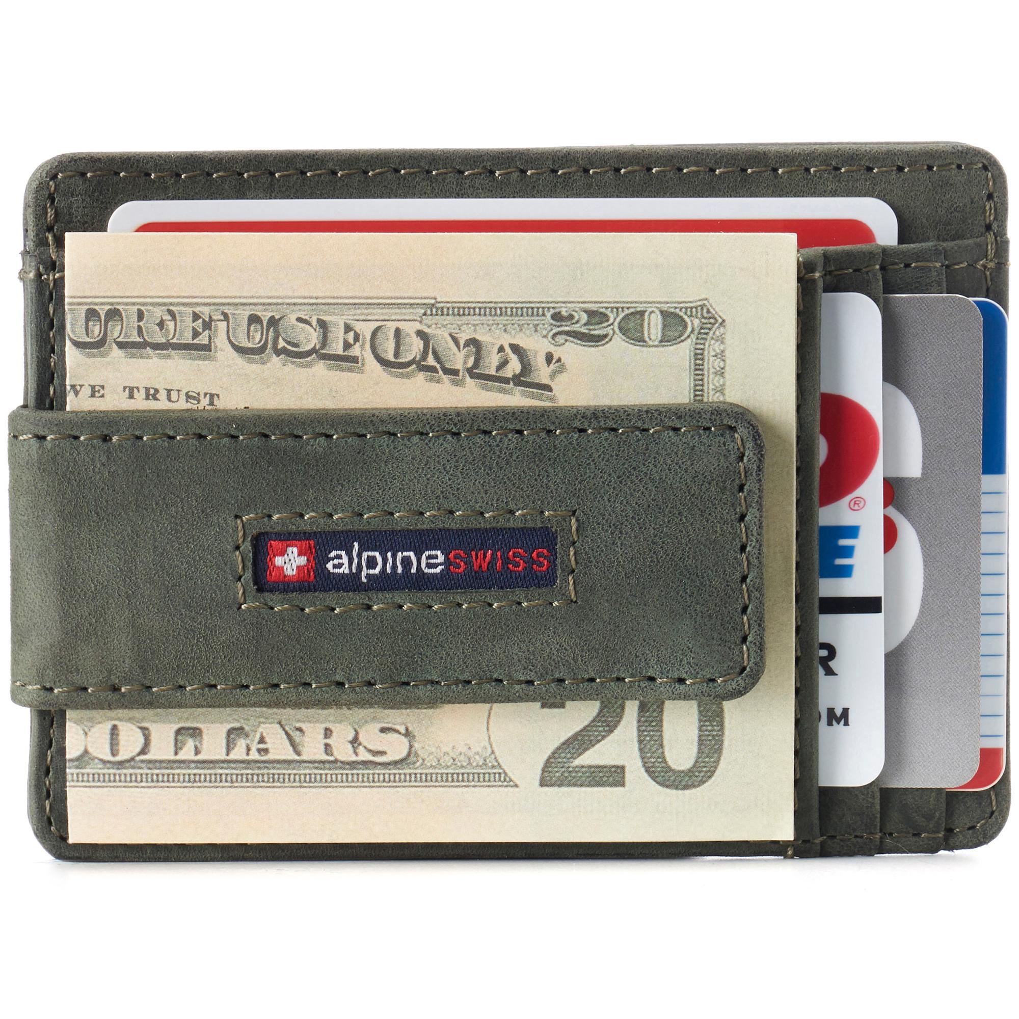 thumbnail 43 - Alpine Swiss Mens RFID Safe Slim Magnetic Money Clip Leather Front Pocket Wallet