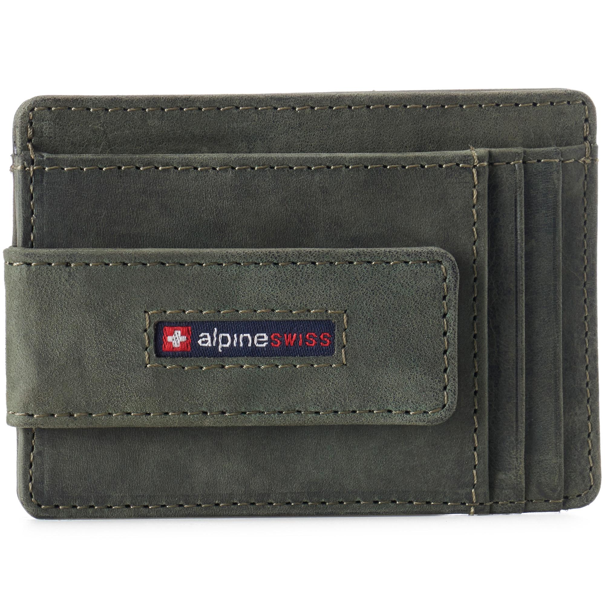 thumbnail 48 - Alpine Swiss Mens RFID Safe Slim Magnetic Money Clip Leather Front Pocket Wallet