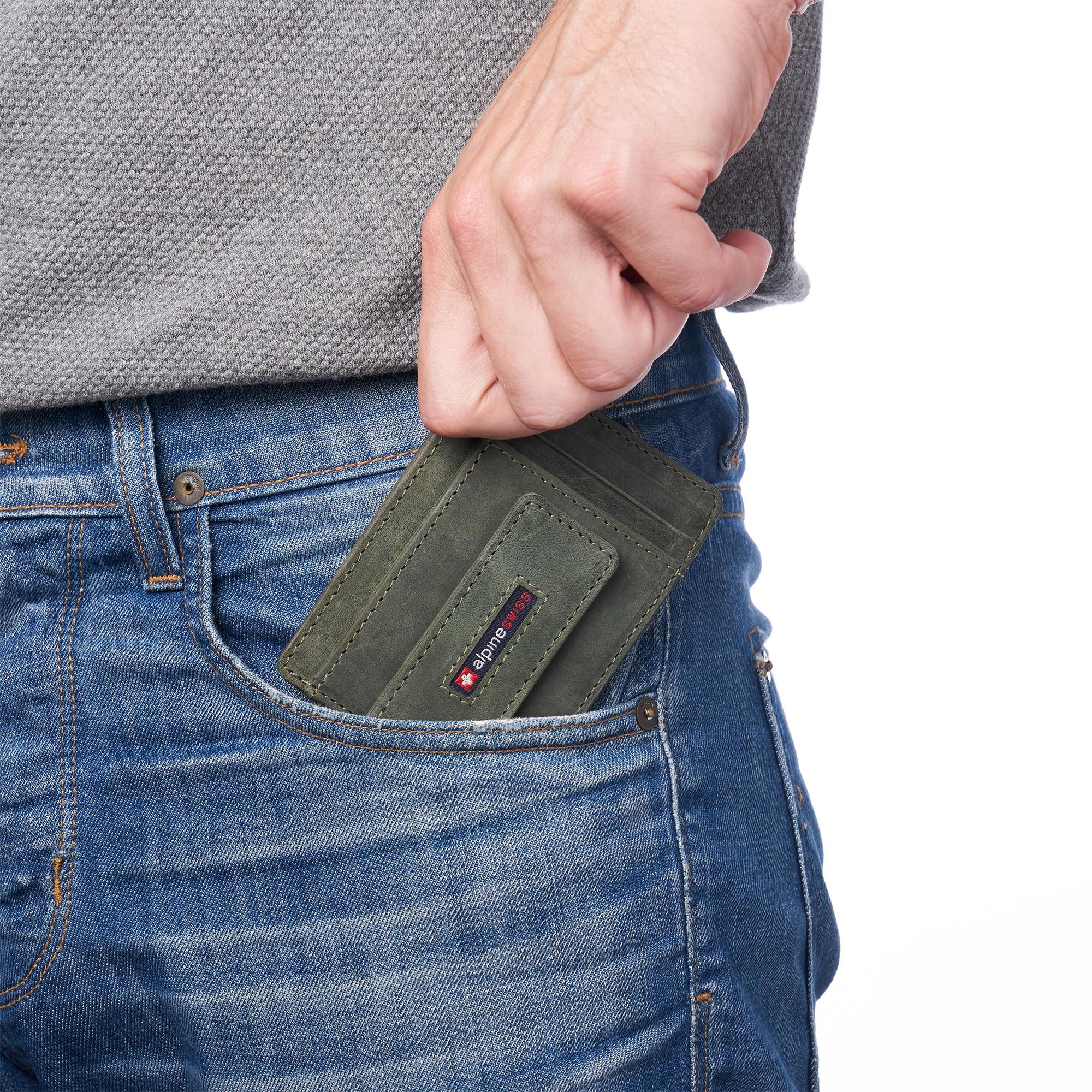 thumbnail 47 - Alpine Swiss Mens RFID Safe Slim Magnetic Money Clip Leather Front Pocket Wallet