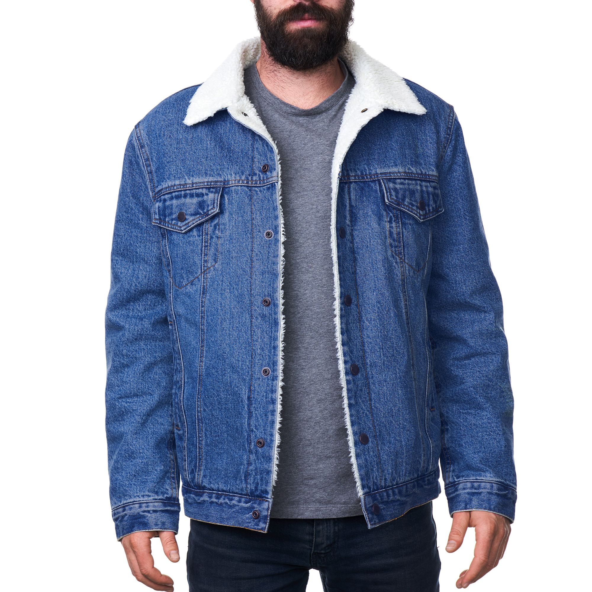 Details about Alpine Swiss Mens Sherpa Lined Denim Jacket Classic Button Up Jean Trucker Coat