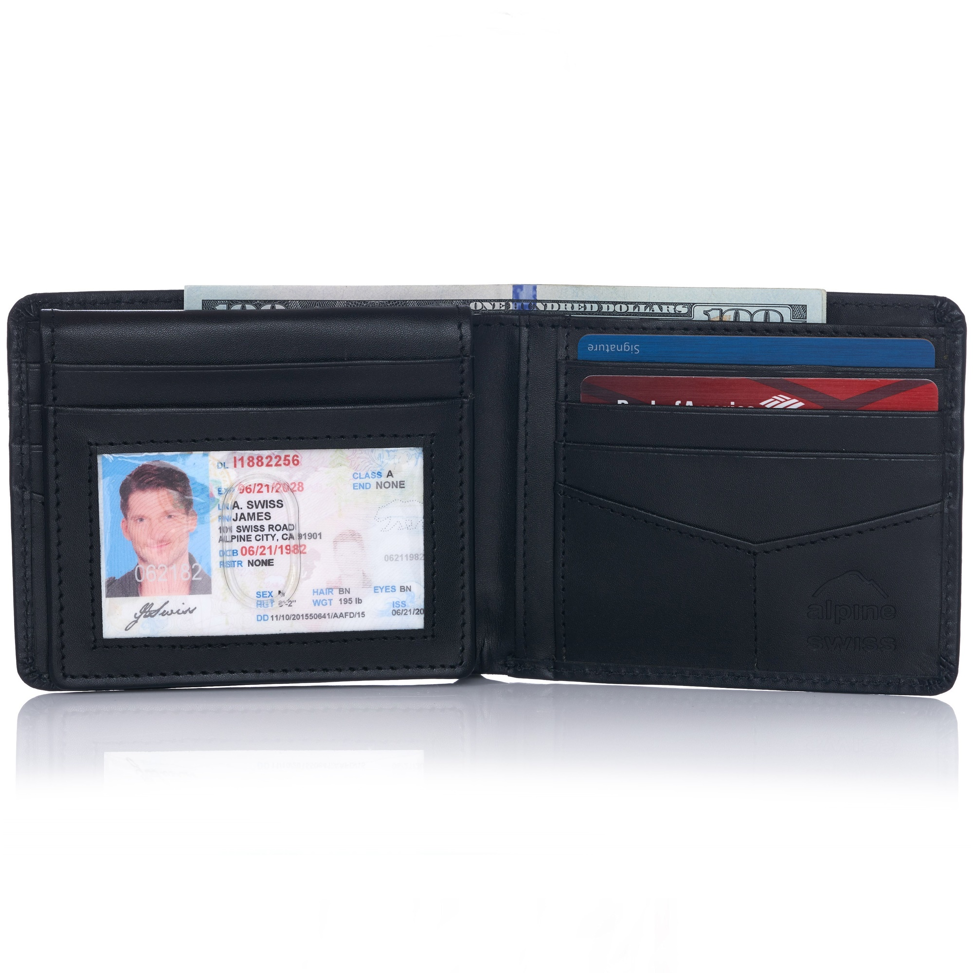 miniature 14 - Alpine-Swiss-RFID-Mens-Wallet-Deluxe-Capacity-Passcase-Bifold-Two-Bill-Sections
