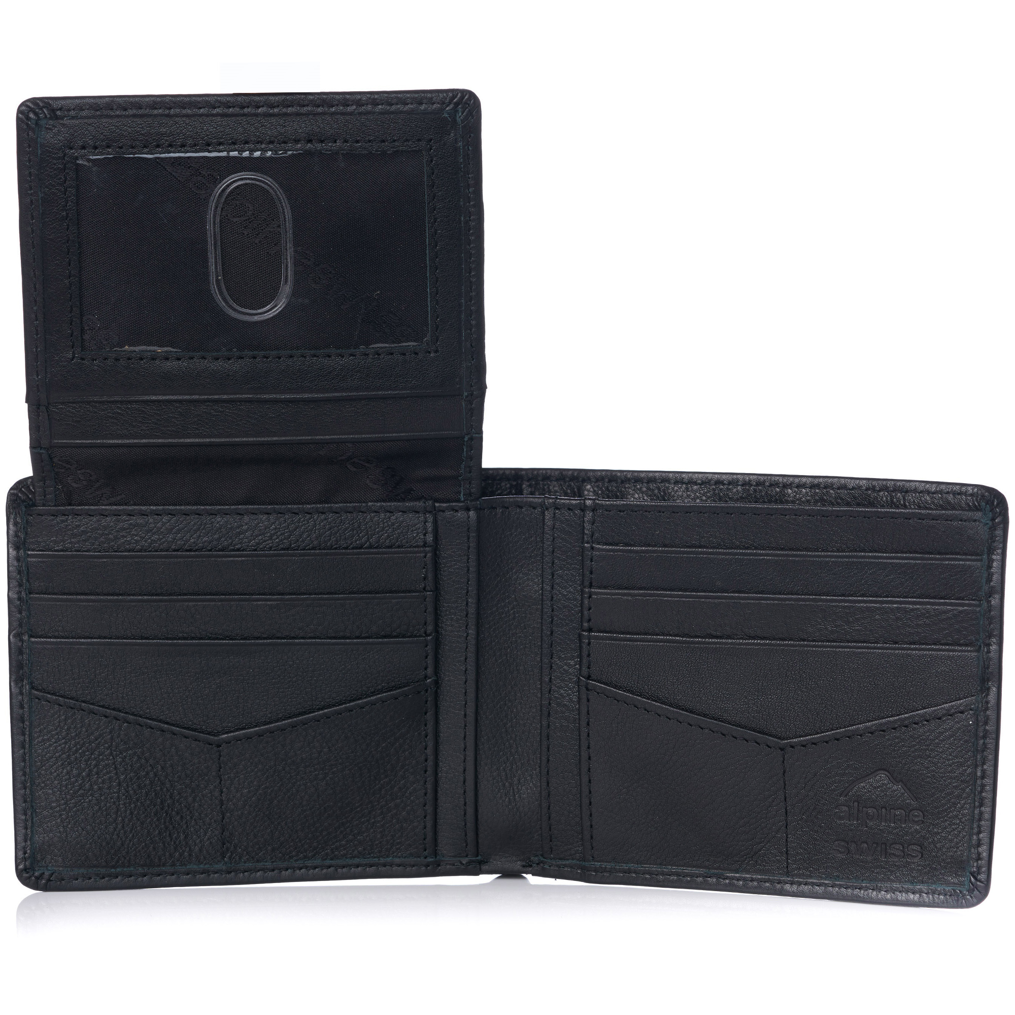 miniature 90 - Alpine-Swiss-RFID-Mens-Wallet-Deluxe-Capacity-Passcase-Bifold-Two-Bill-Sections