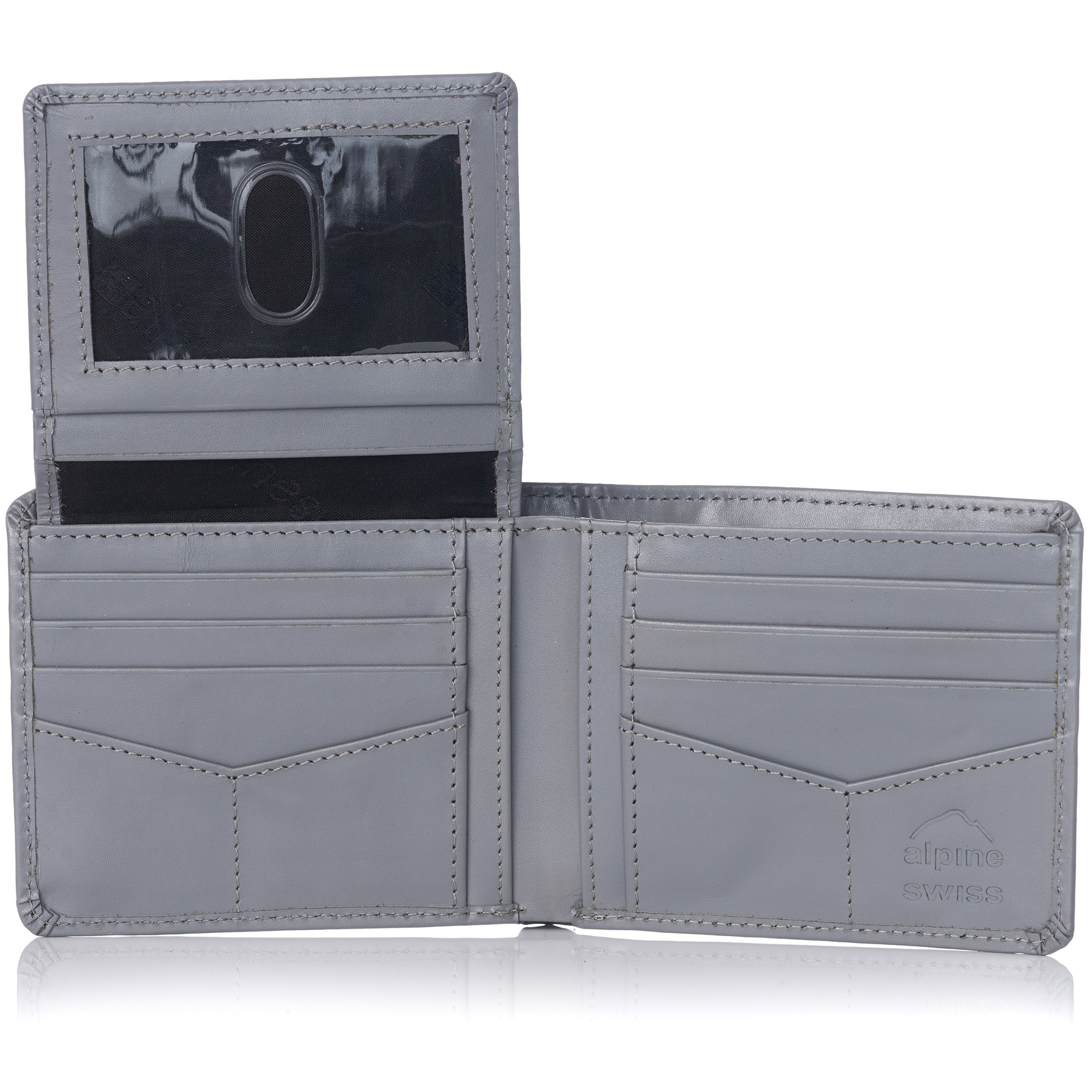 miniature 79 - Alpine-Swiss-RFID-Mens-Wallet-Deluxe-Capacity-Passcase-Bifold-Two-Bill-Sections