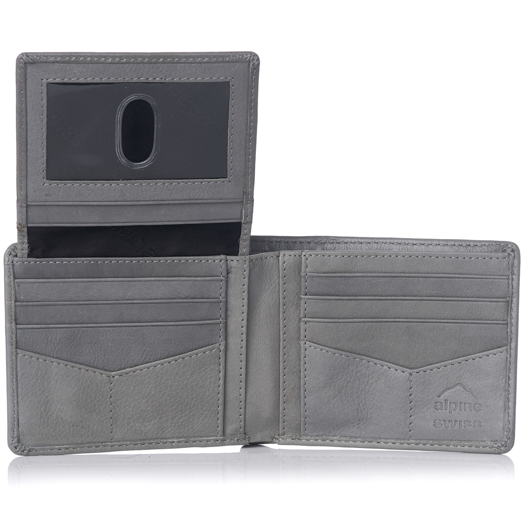 miniature 110 - Alpine-Swiss-RFID-Mens-Wallet-Deluxe-Capacity-Passcase-Bifold-Two-Bill-Sections