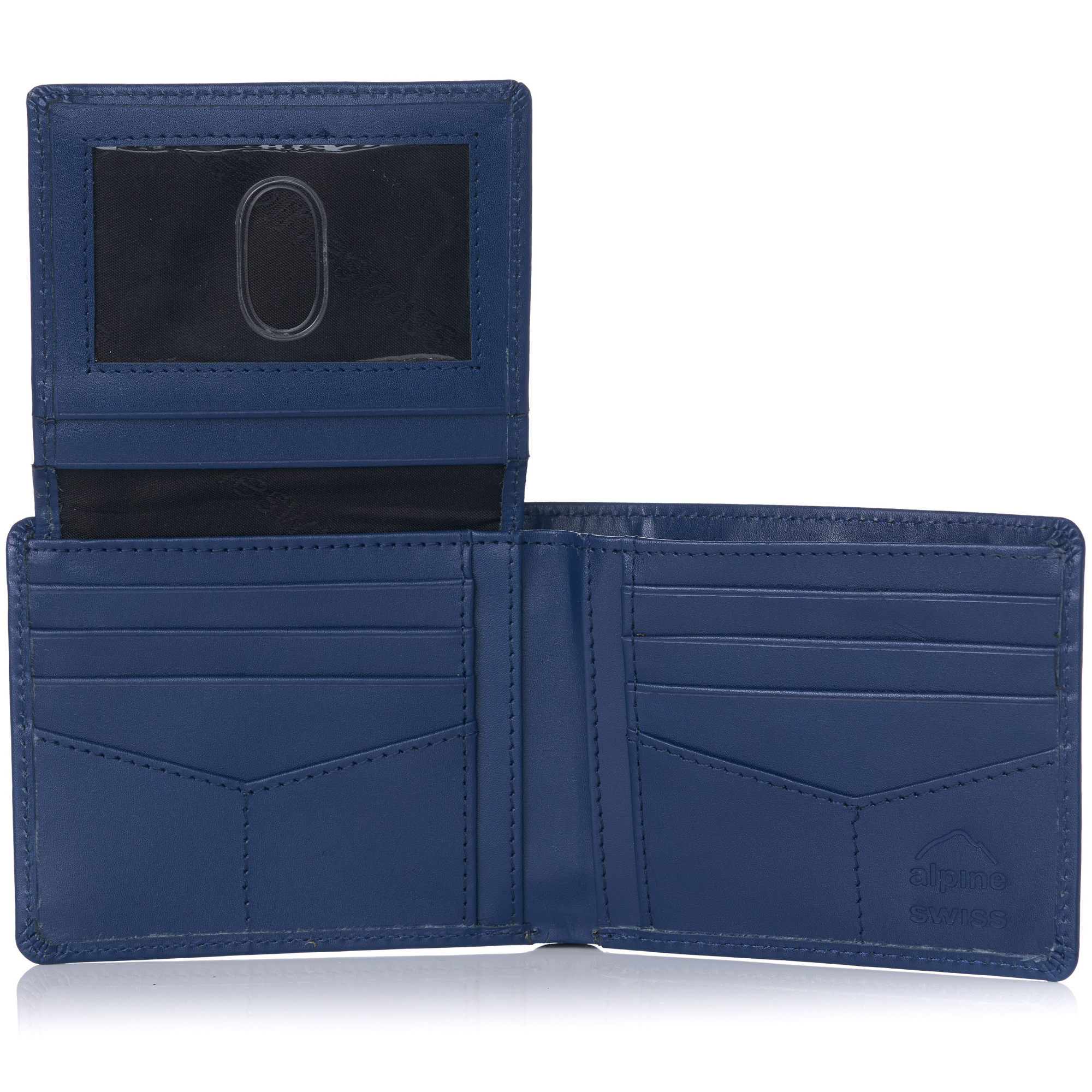 miniature 63 - Alpine-Swiss-RFID-Mens-Wallet-Deluxe-Capacity-Passcase-Bifold-Two-Bill-Sections