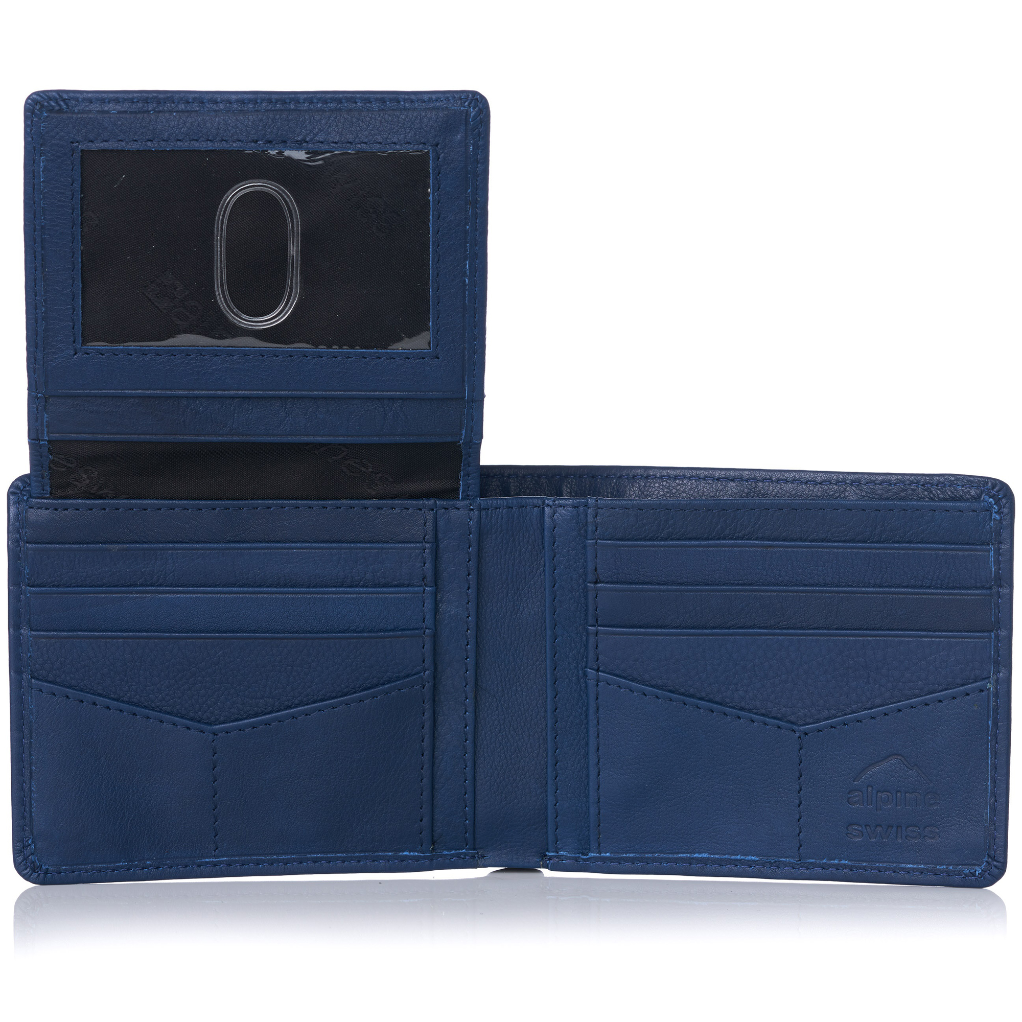 miniature 94 - Alpine-Swiss-RFID-Mens-Wallet-Deluxe-Capacity-Passcase-Bifold-Two-Bill-Sections