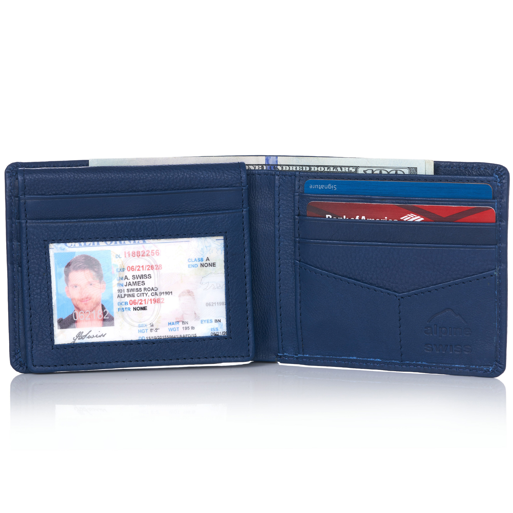 miniature 95 - Alpine-Swiss-RFID-Mens-Wallet-Deluxe-Capacity-Passcase-Bifold-Two-Bill-Sections
