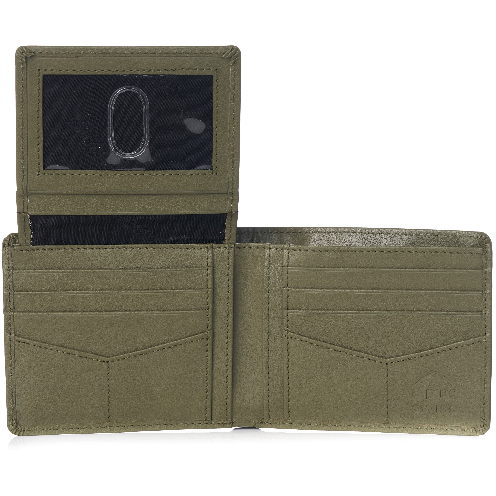 miniature 83 - Alpine-Swiss-RFID-Mens-Wallet-Deluxe-Capacity-Passcase-Bifold-Two-Bill-Sections