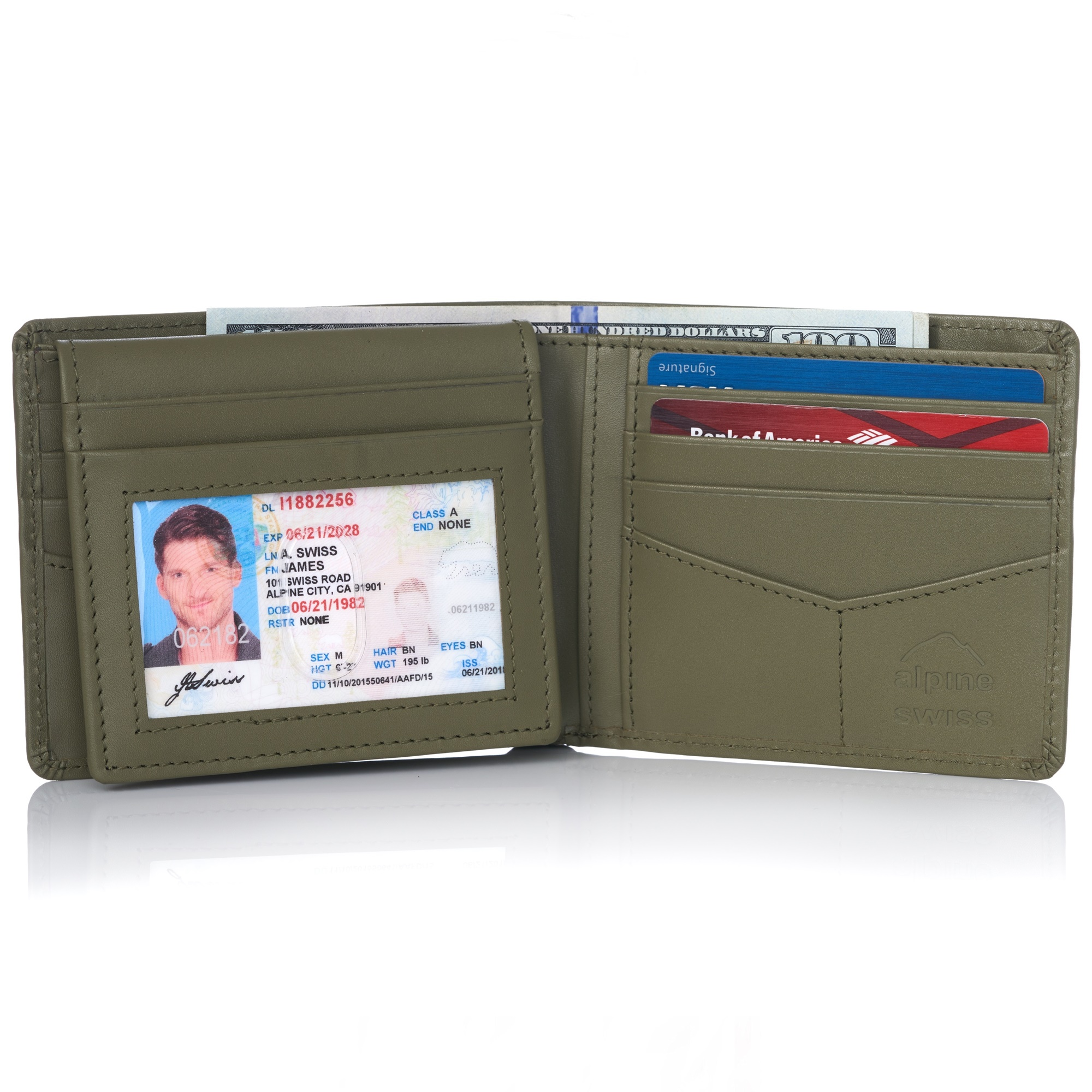 miniature 84 - Alpine-Swiss-RFID-Mens-Wallet-Deluxe-Capacity-Passcase-Bifold-Two-Bill-Sections