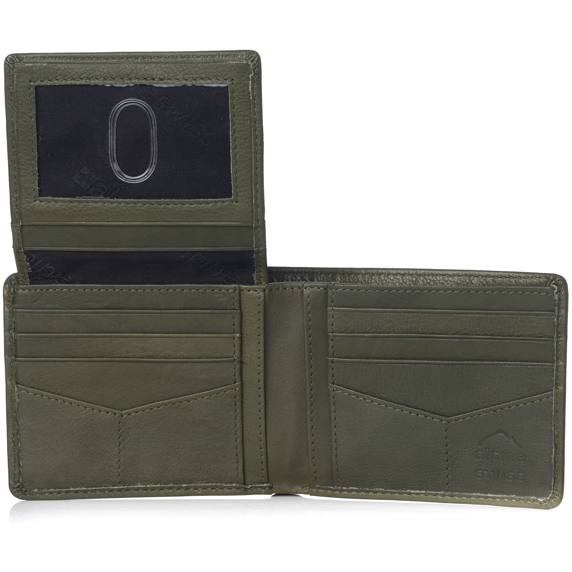 miniature 114 - Alpine-Swiss-RFID-Mens-Wallet-Deluxe-Capacity-Passcase-Bifold-Two-Bill-Sections