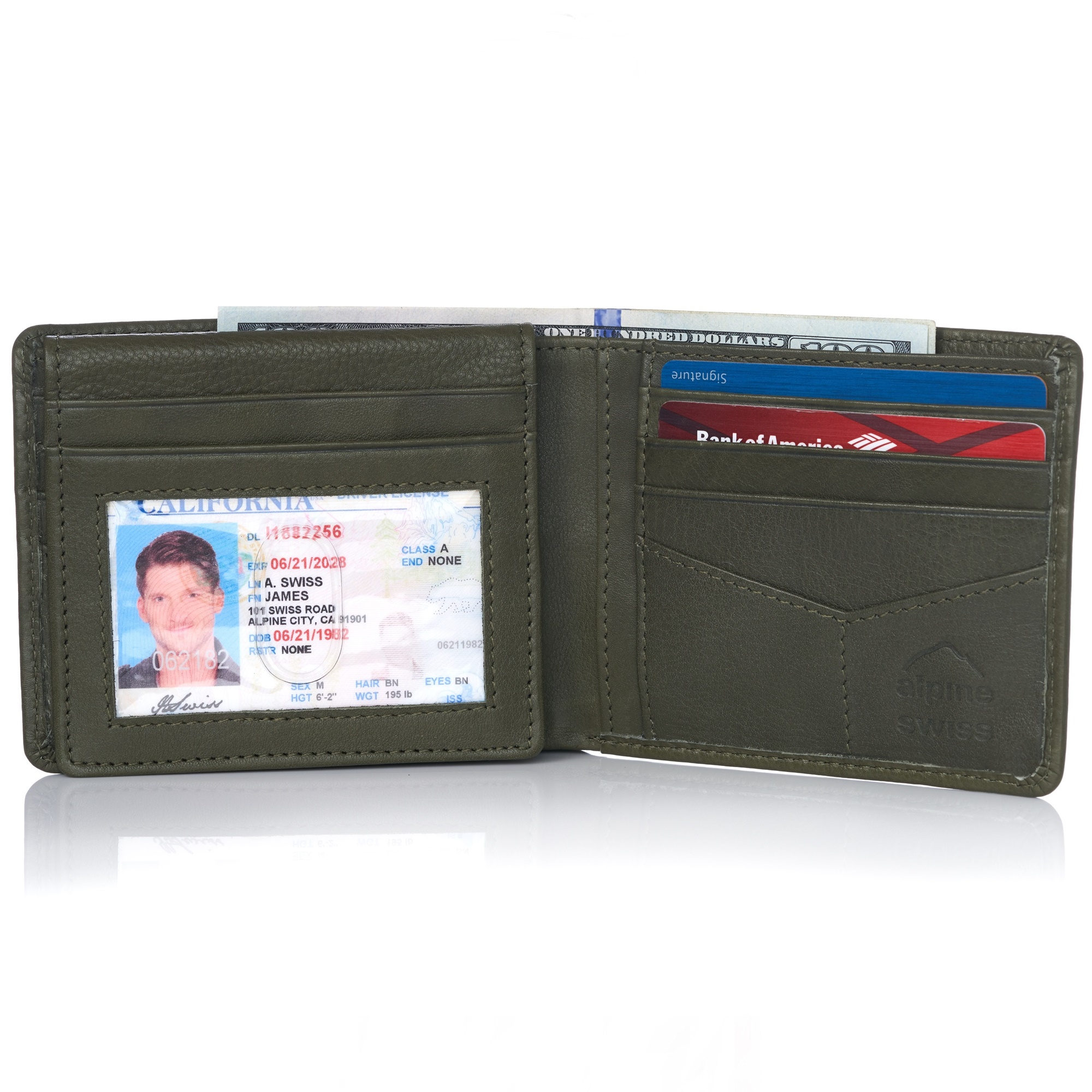 miniature 115 - Alpine-Swiss-RFID-Mens-Wallet-Deluxe-Capacity-Passcase-Bifold-Two-Bill-Sections