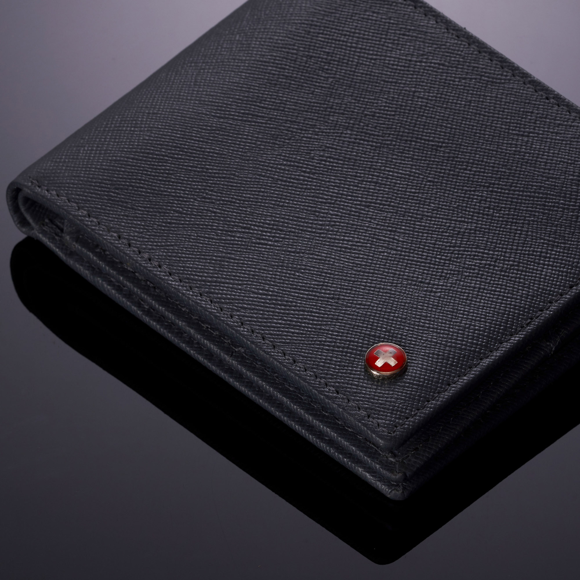 miniature 53 - Alpine-Swiss-RFID-Mens-Wallet-Deluxe-Capacity-Passcase-Bifold-Two-Bill-Sections