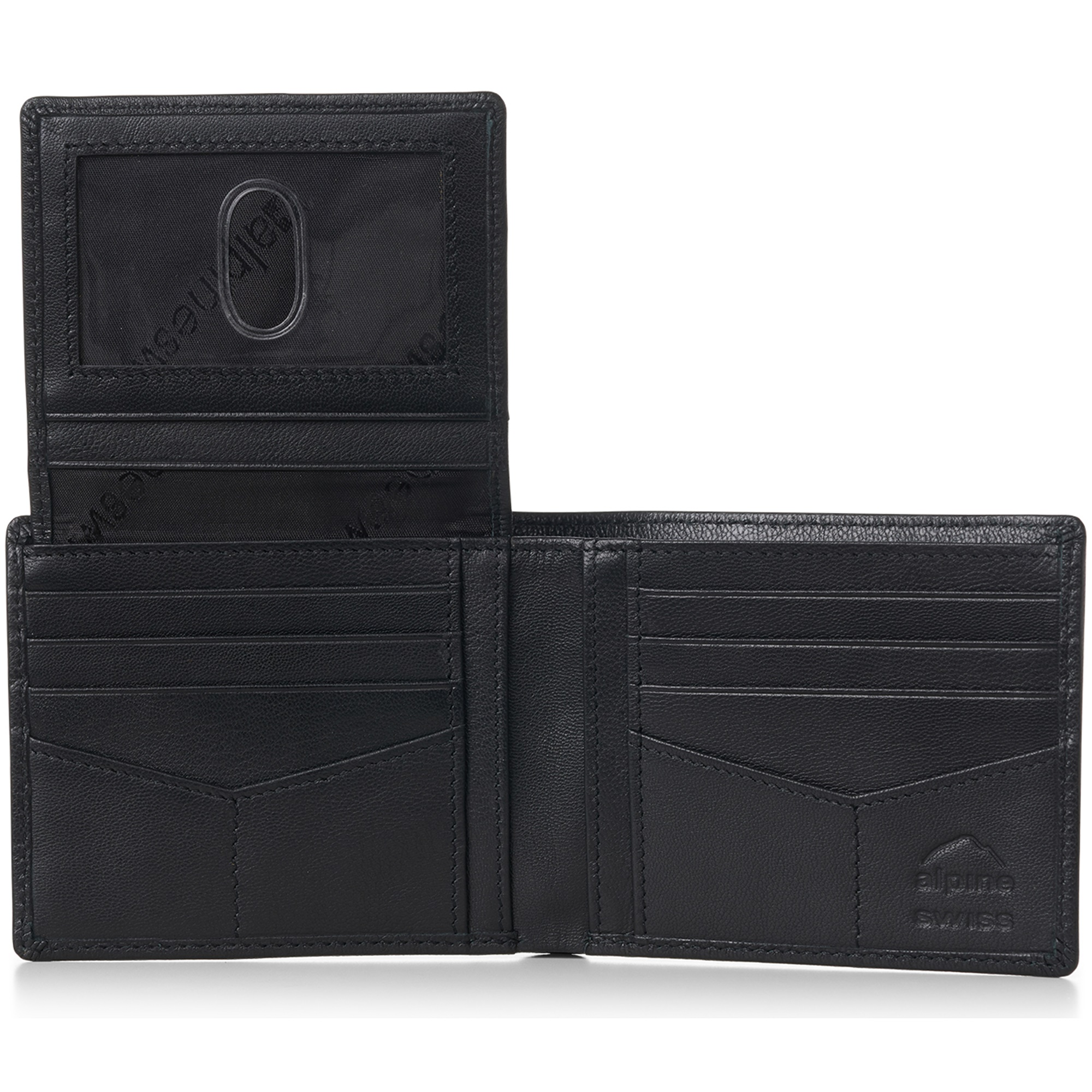 miniature 87 - Alpine-Swiss-RFID-Mens-Wallet-Deluxe-Capacity-Passcase-Bifold-Two-Bill-Sections