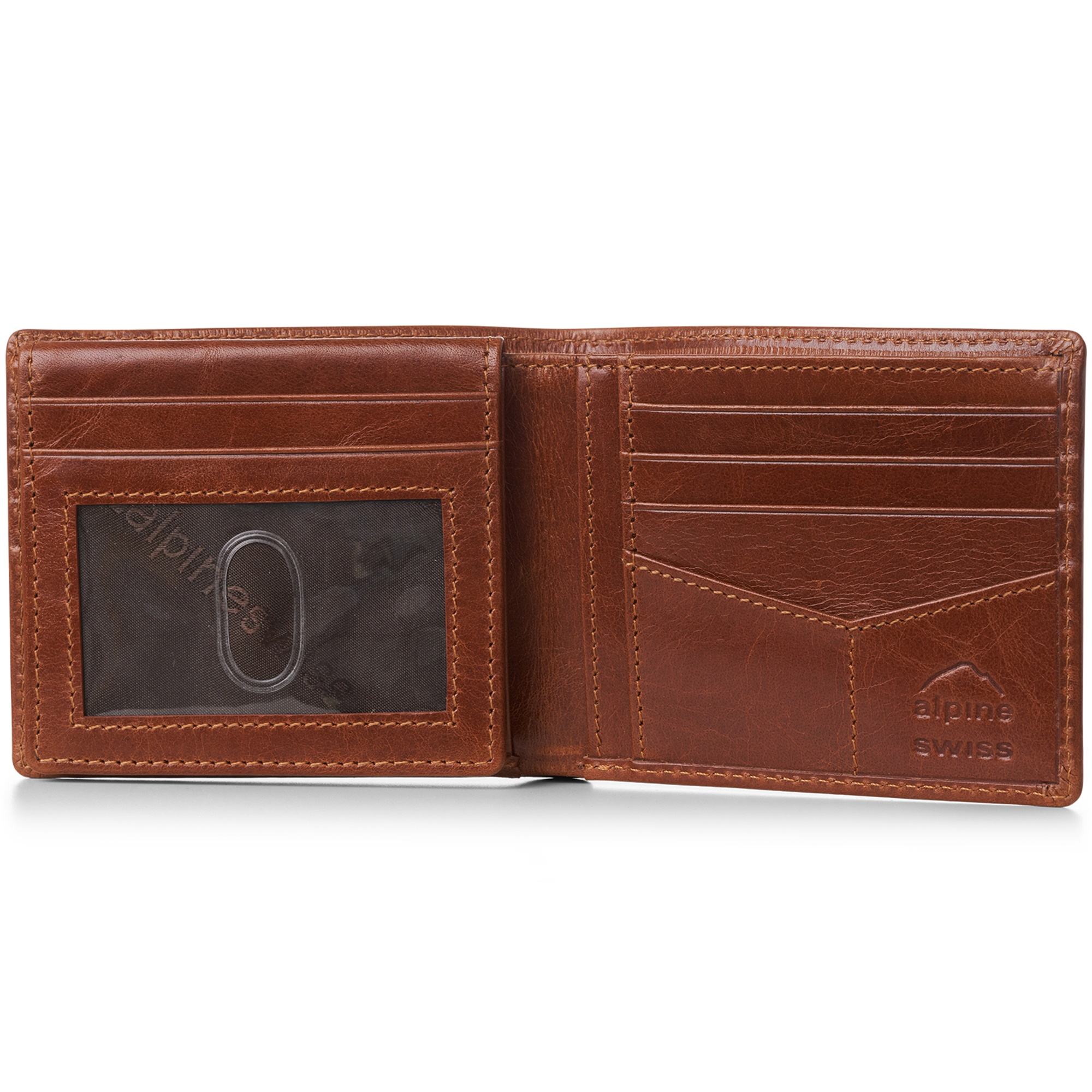 miniature 29 - Alpine-Swiss-RFID-Mens-Wallet-Deluxe-Capacity-Passcase-Bifold-Two-Bill-Sections