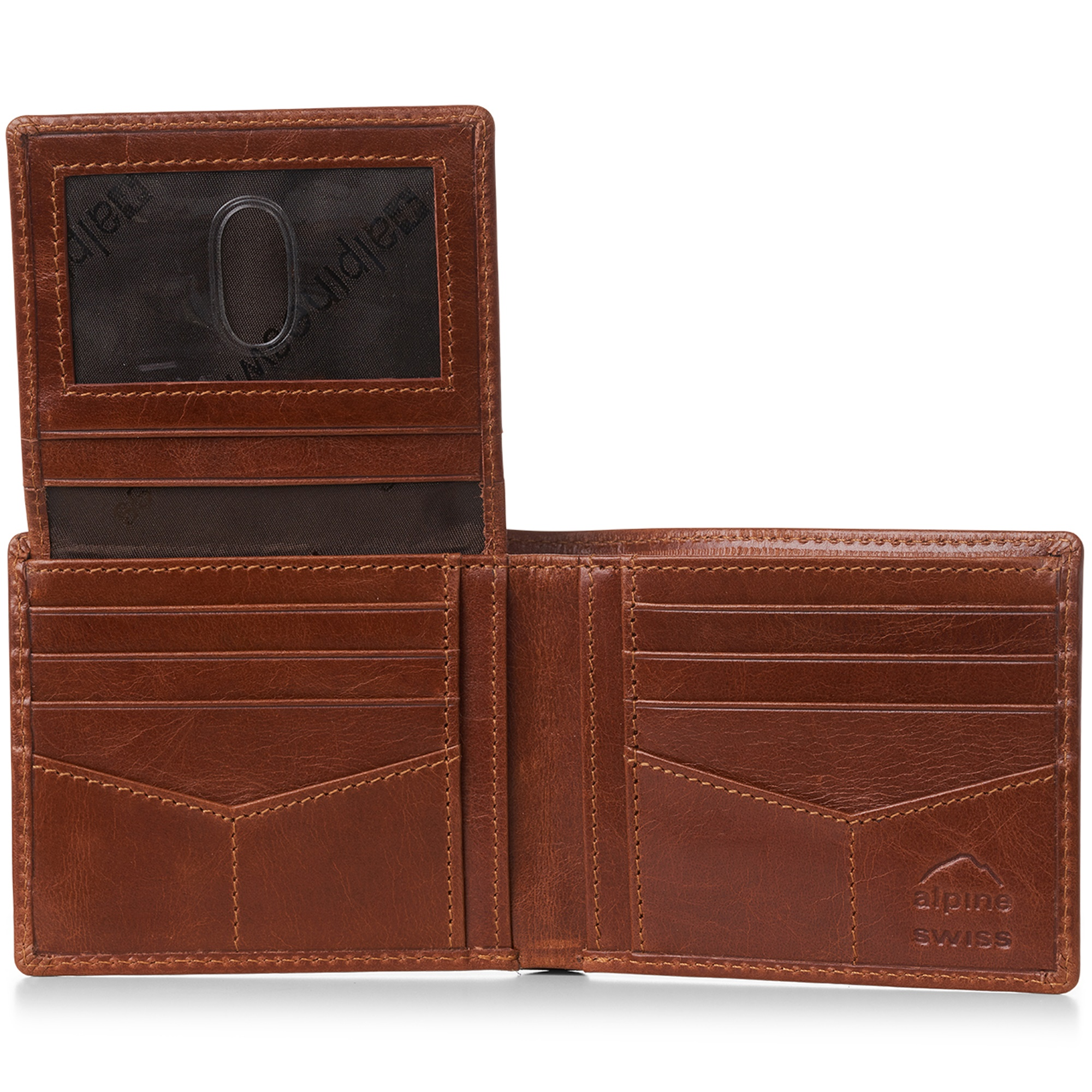 miniature 24 - Alpine-Swiss-RFID-Mens-Wallet-Deluxe-Capacity-Passcase-Bifold-Two-Bill-Sections