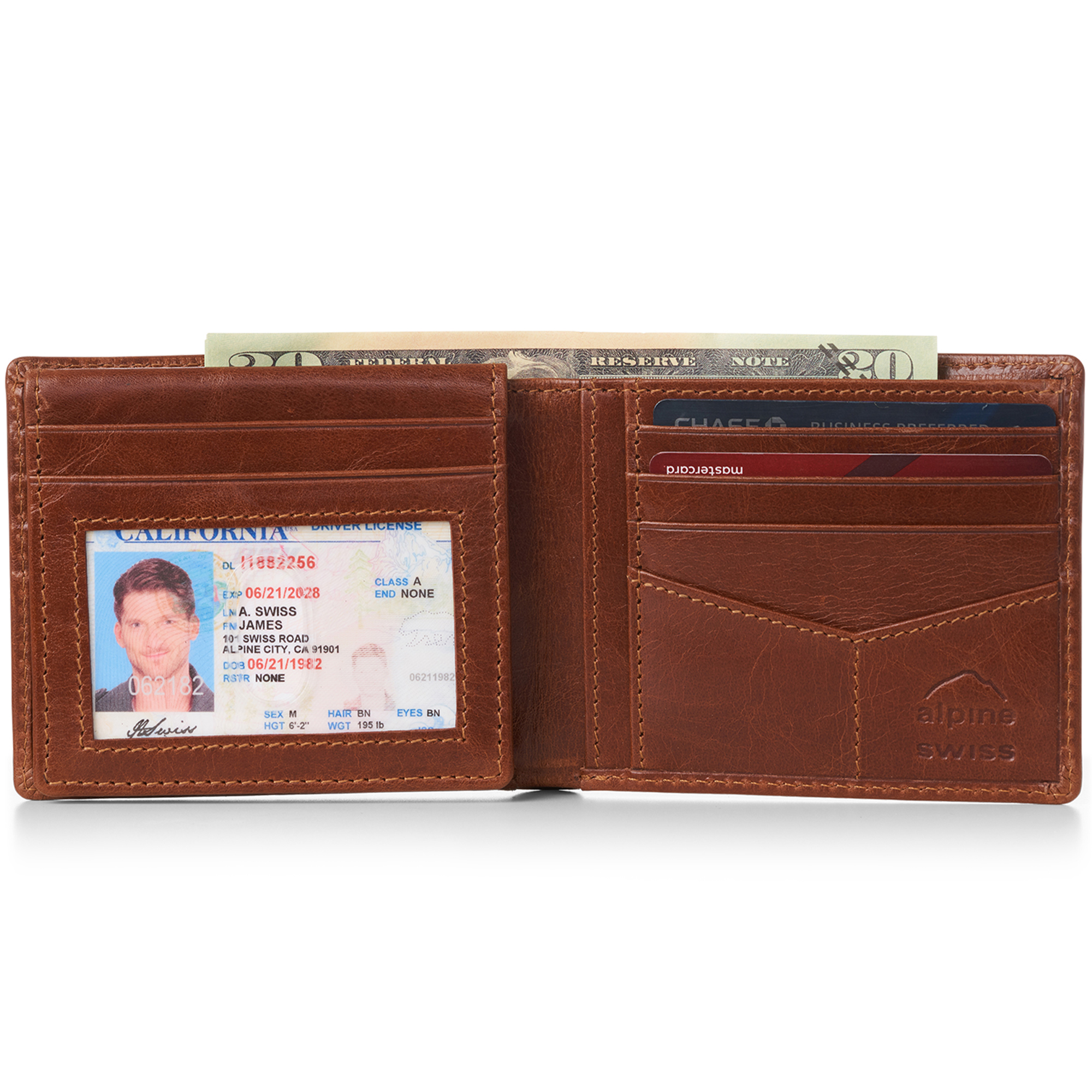 miniature 23 - Alpine-Swiss-RFID-Mens-Wallet-Deluxe-Capacity-Passcase-Bifold-Two-Bill-Sections