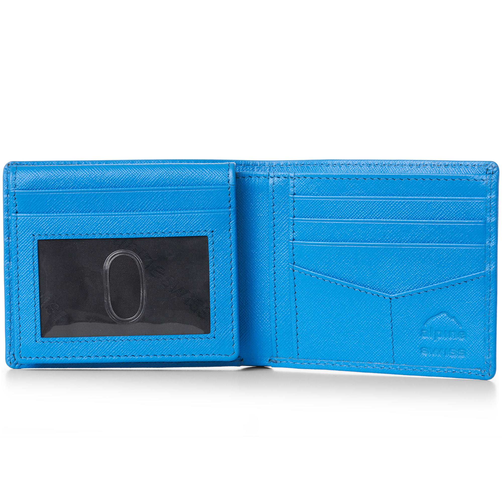 miniature 38 - Alpine-Swiss-RFID-Mens-Wallet-Deluxe-Capacity-Passcase-Bifold-Two-Bill-Sections