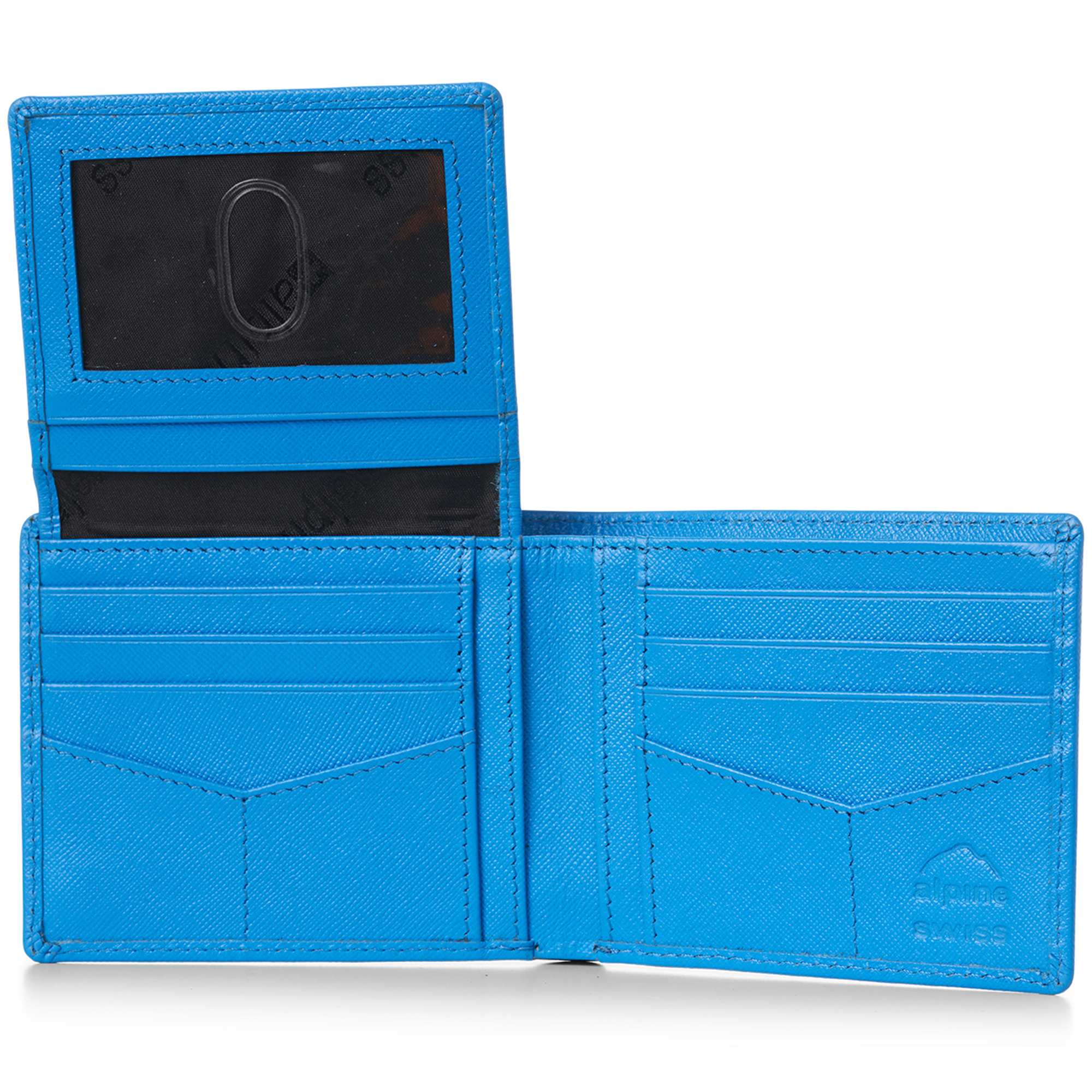 miniature 33 - Alpine-Swiss-RFID-Mens-Wallet-Deluxe-Capacity-Passcase-Bifold-Two-Bill-Sections