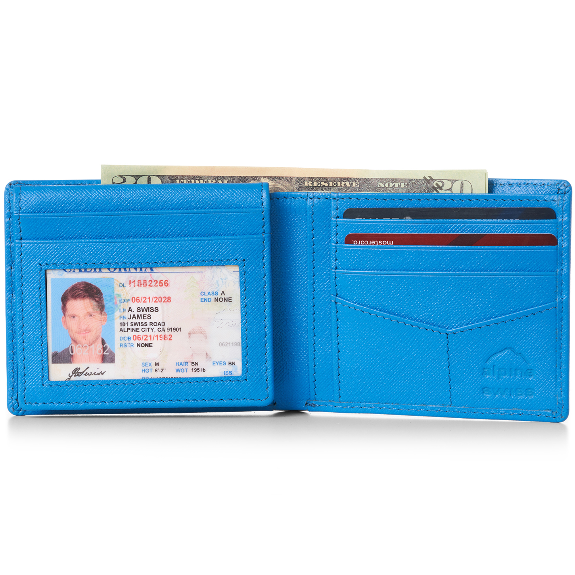 miniature 32 - Alpine-Swiss-RFID-Mens-Wallet-Deluxe-Capacity-Passcase-Bifold-Two-Bill-Sections