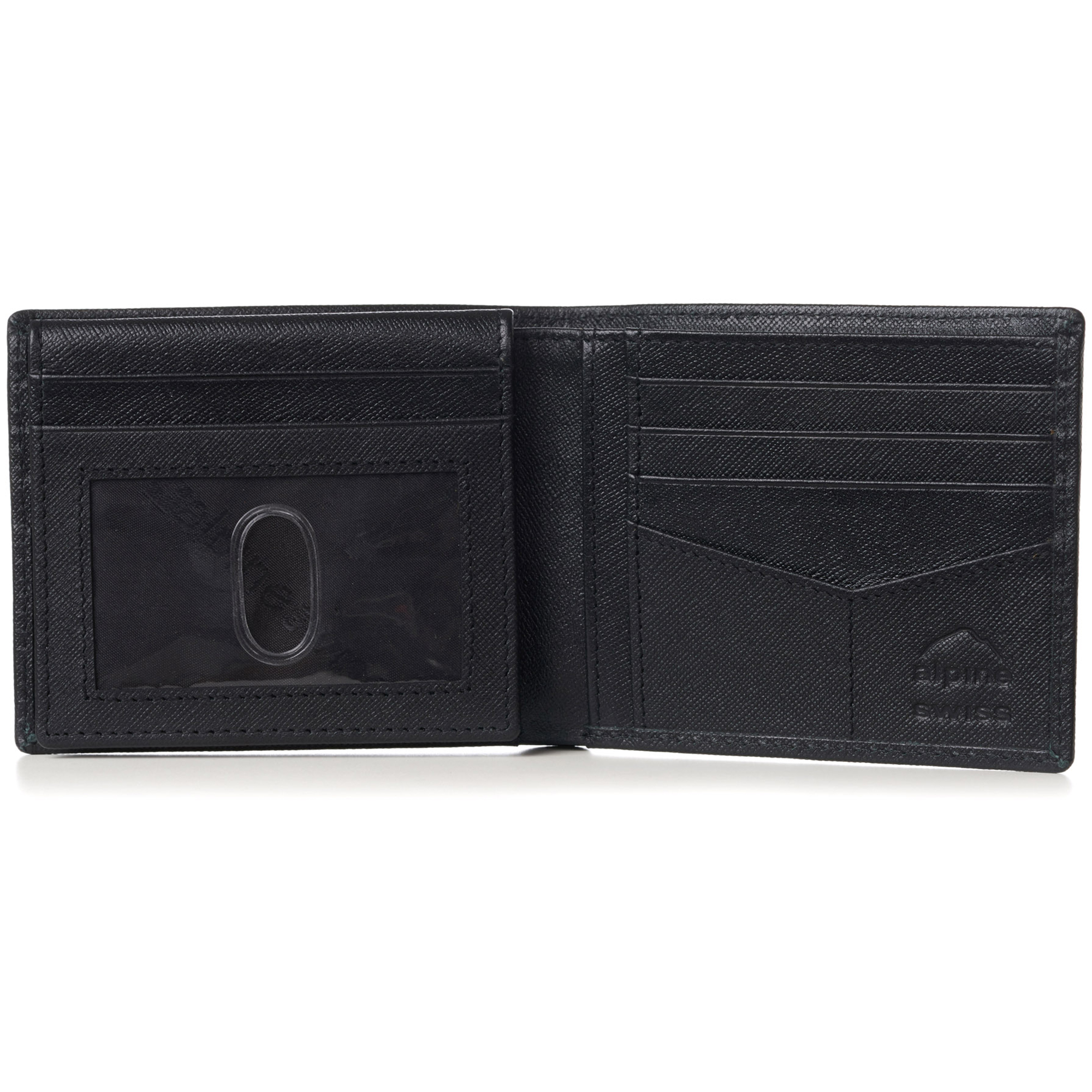 miniature 47 - Alpine-Swiss-RFID-Mens-Wallet-Deluxe-Capacity-Passcase-Bifold-Two-Bill-Sections
