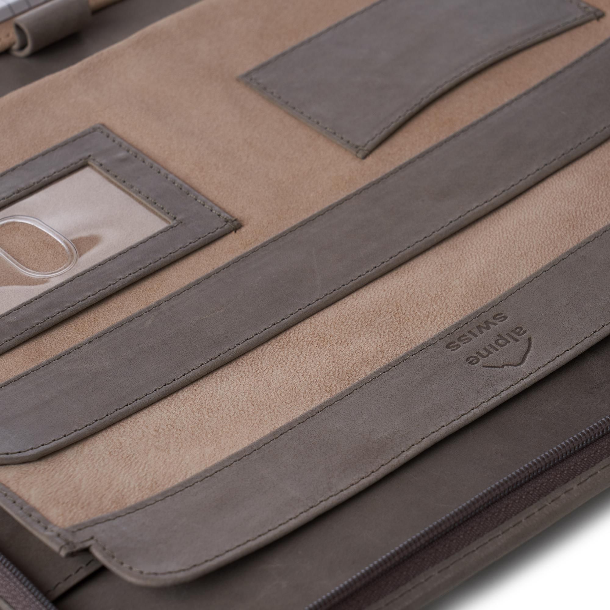 thumbnail 42 - Alpine Swiss Leather Zippered Writing Pad Portfolio Business Briefcase Organizer