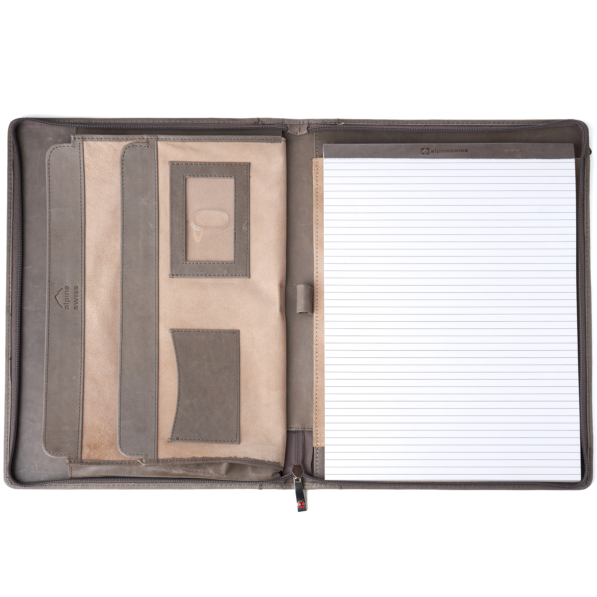 thumbnail 37 - Alpine Swiss Leather Zippered Writing Pad Portfolio Business Briefcase Organizer