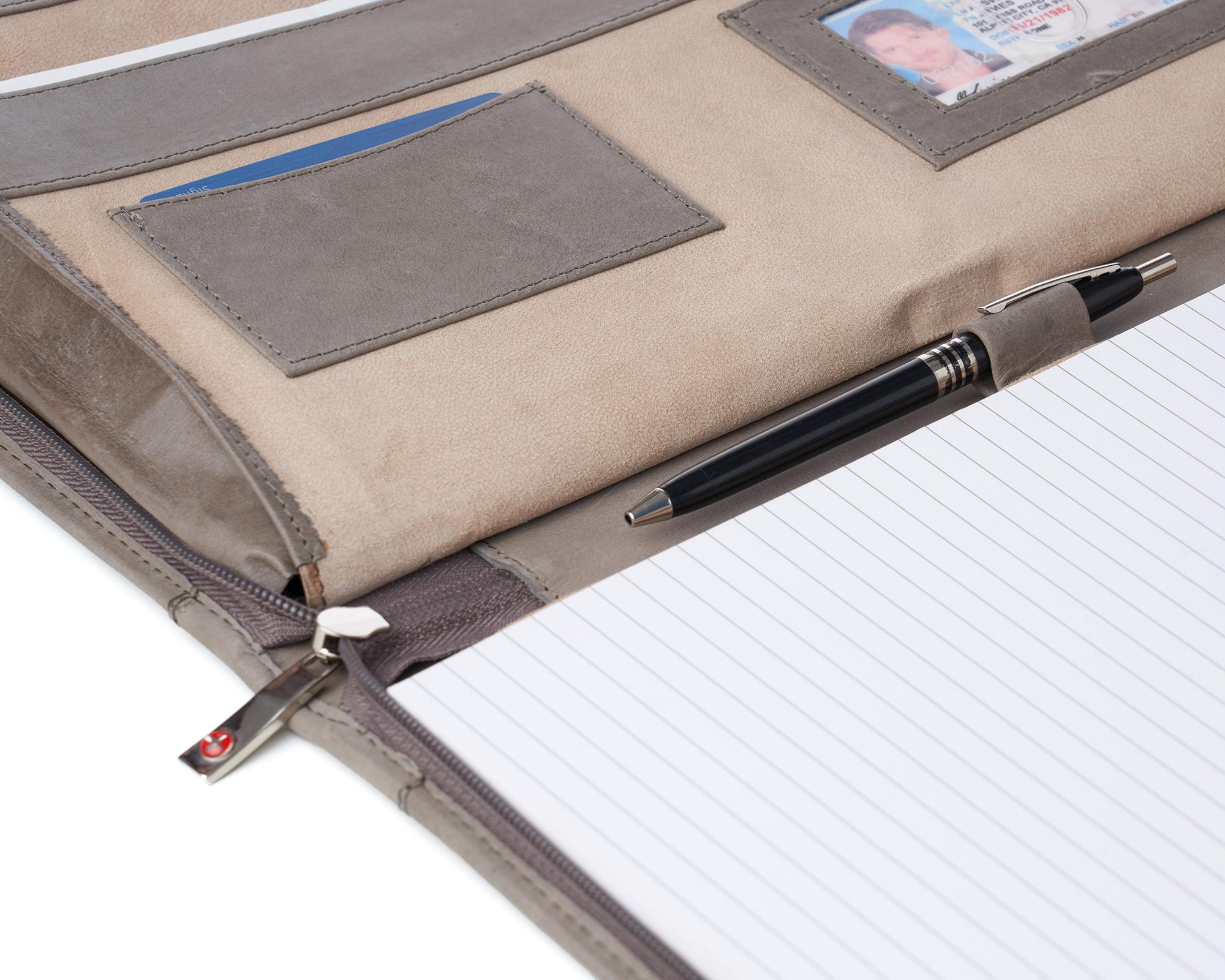 thumbnail 40 - Alpine Swiss Leather Zippered Writing Pad Portfolio Business Briefcase Organizer