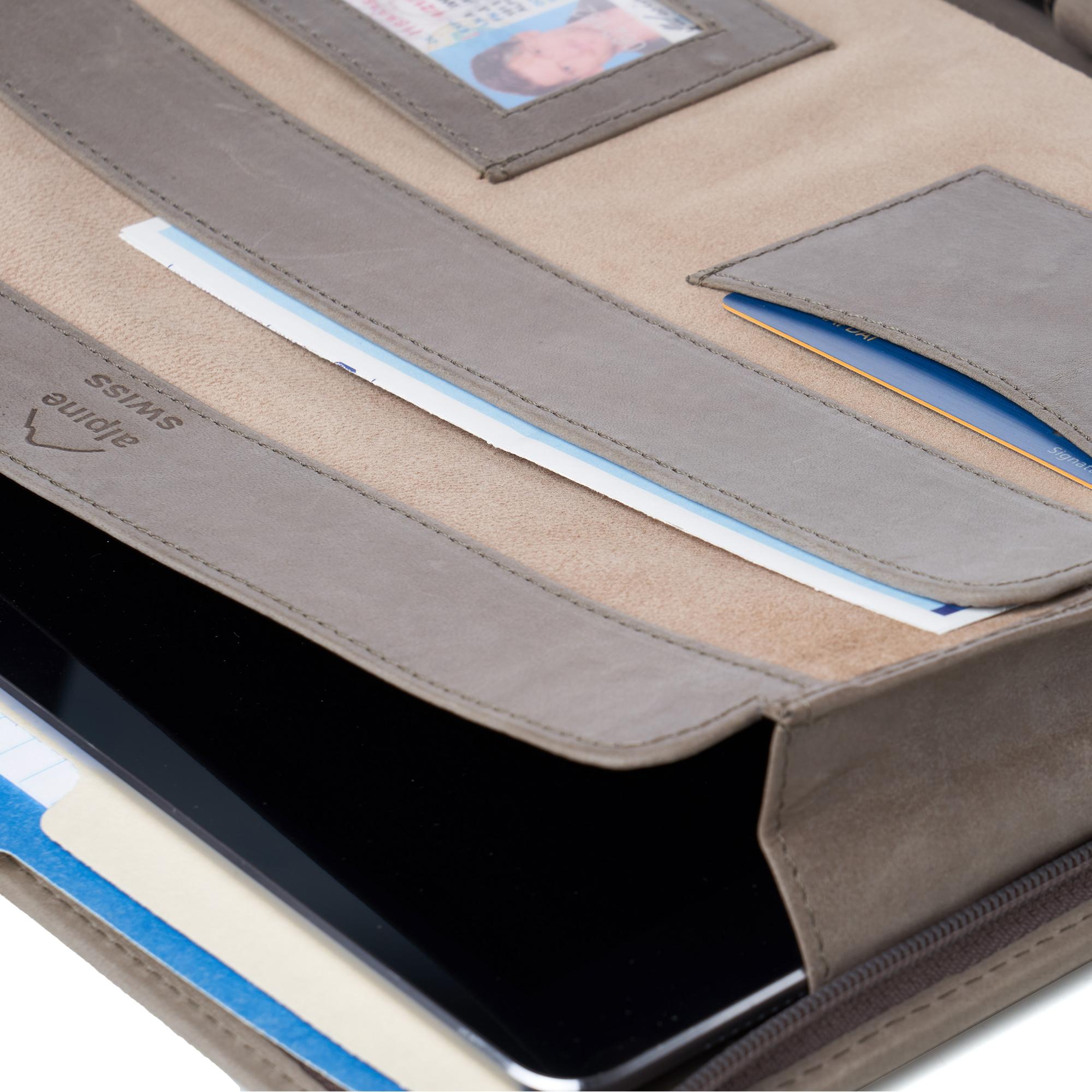 thumbnail 41 - Alpine Swiss Leather Zippered Writing Pad Portfolio Business Briefcase Organizer