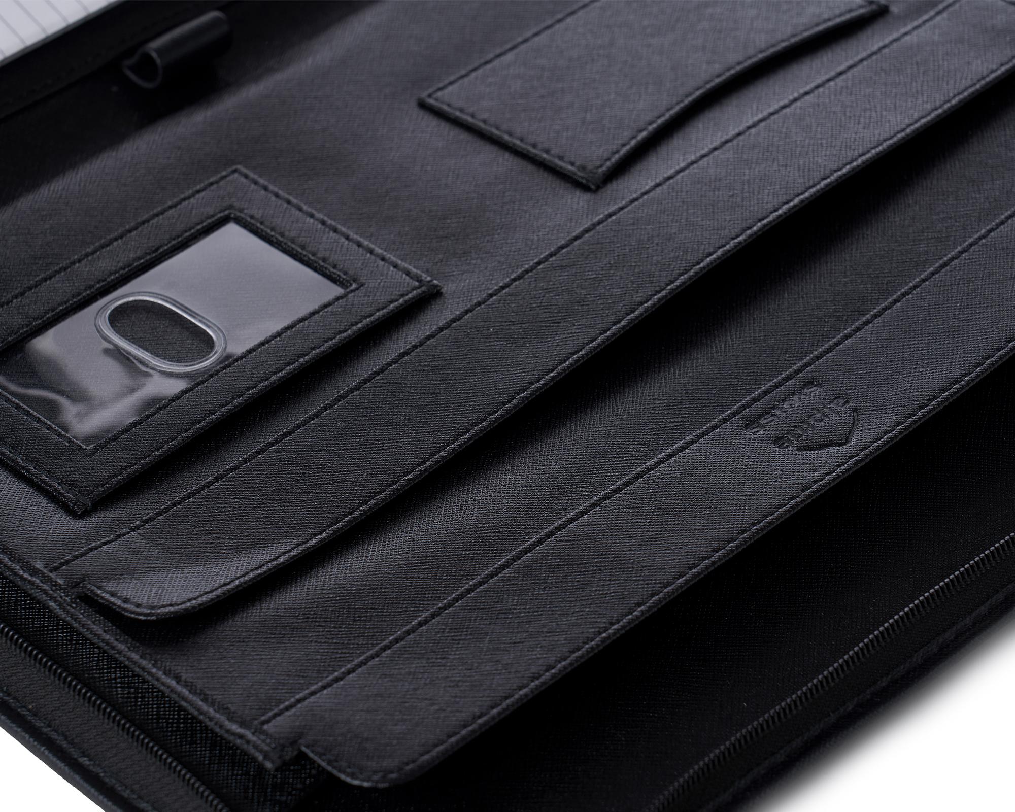 thumbnail 28 - Alpine Swiss Leather Zippered Writing Pad Portfolio Business Briefcase Organizer
