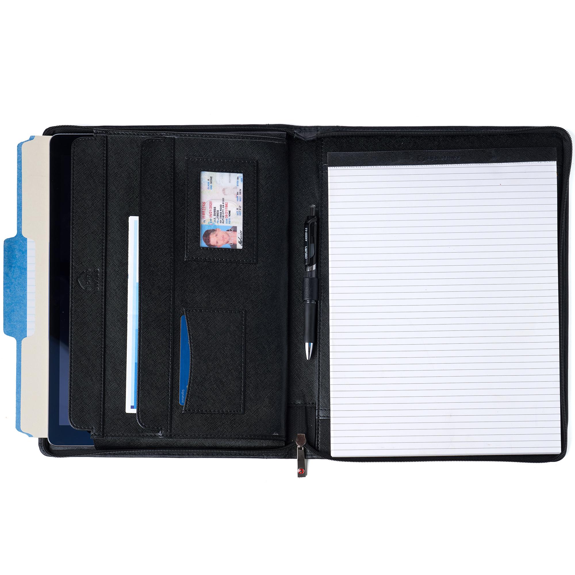thumbnail 22 - Alpine Swiss Leather Zippered Writing Pad Portfolio Business Briefcase Organizer