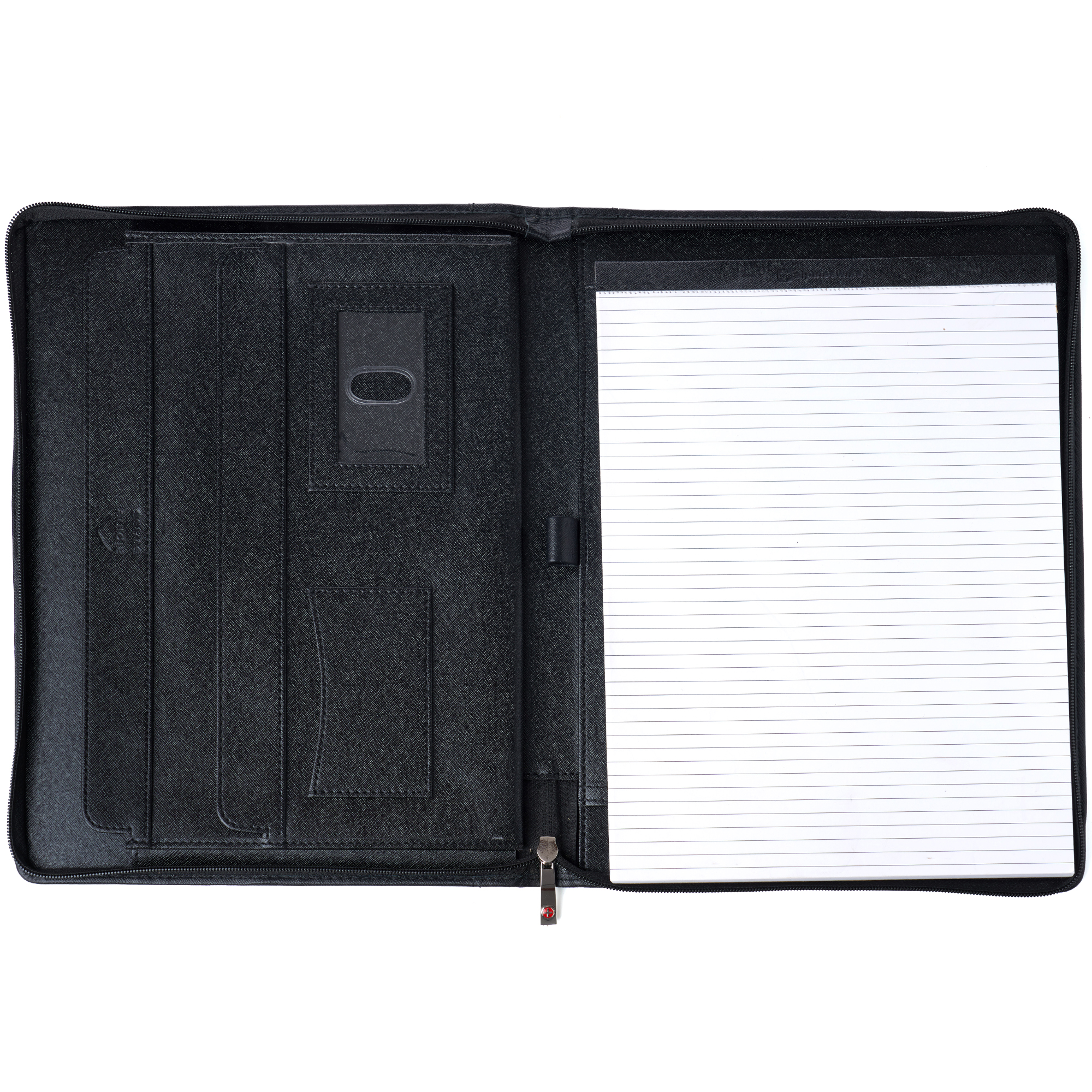 thumbnail 23 - Alpine Swiss Leather Zippered Writing Pad Portfolio Business Briefcase Organizer