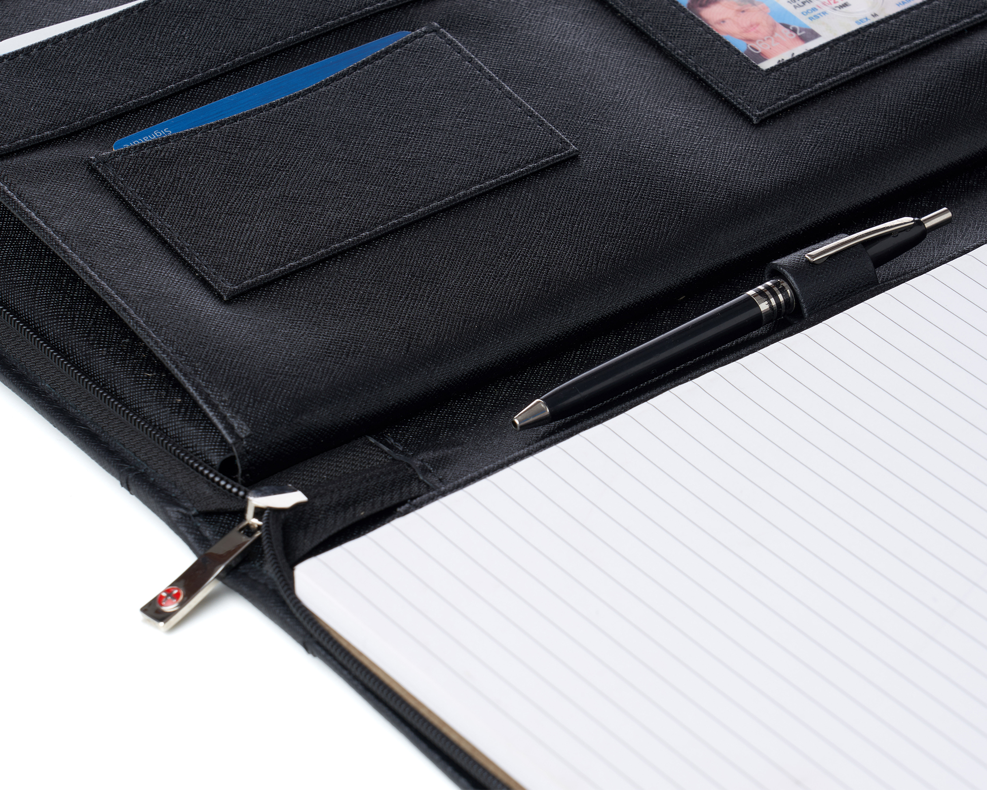 thumbnail 26 - Alpine Swiss Leather Zippered Writing Pad Portfolio Business Briefcase Organizer