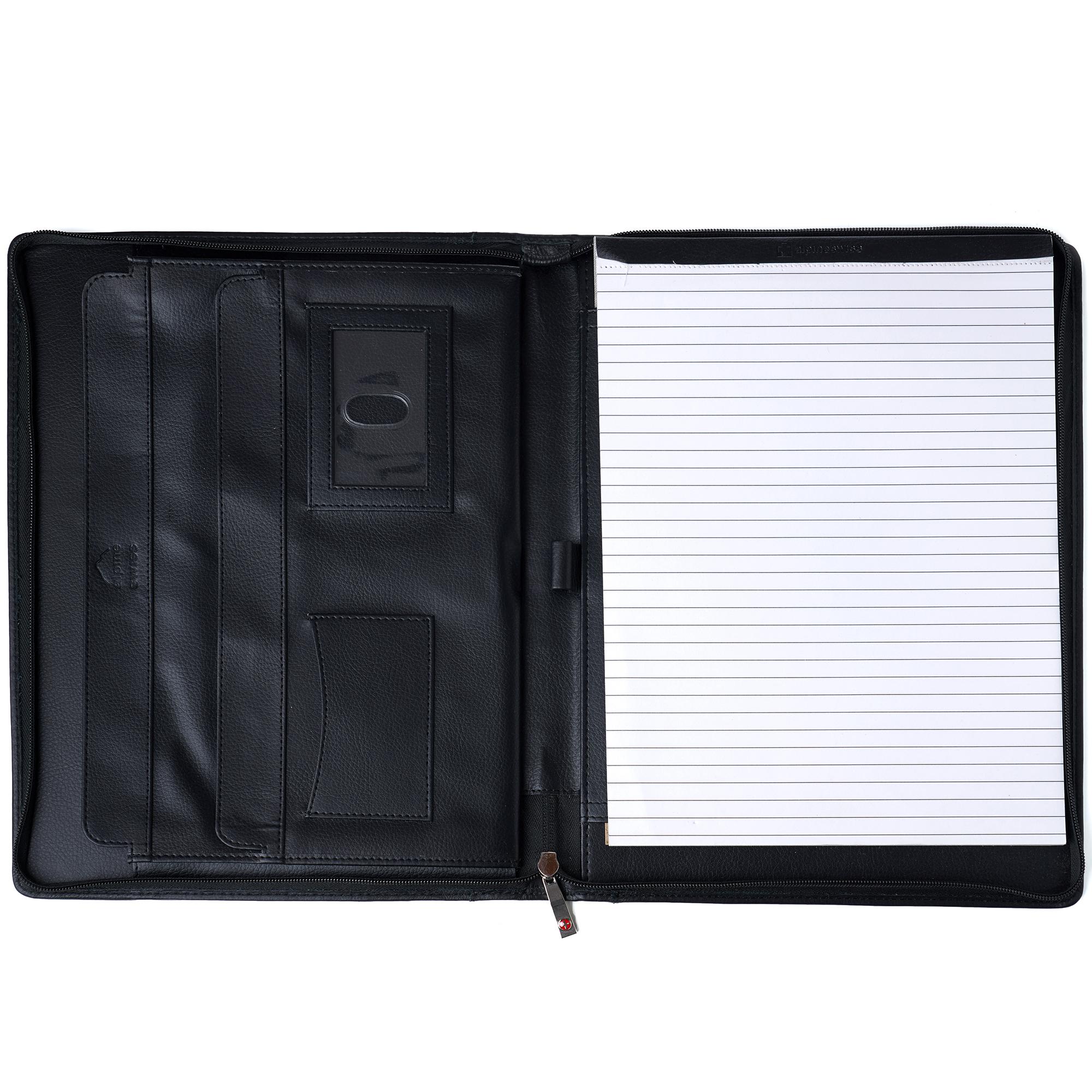 thumbnail 14 - Alpine Swiss Leather Zippered Writing Pad Portfolio Business Briefcase Organizer
