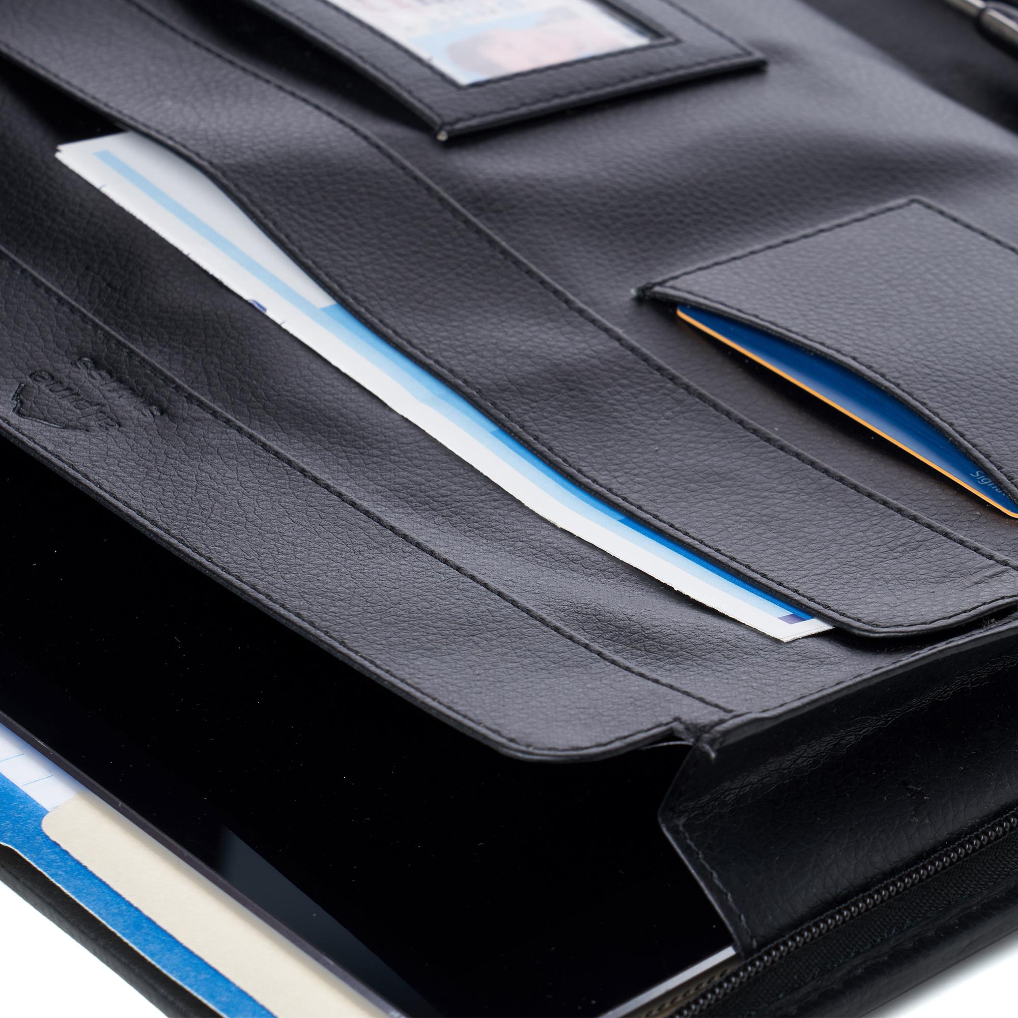 thumbnail 17 - Alpine Swiss Leather Zippered Writing Pad Portfolio Business Briefcase Organizer