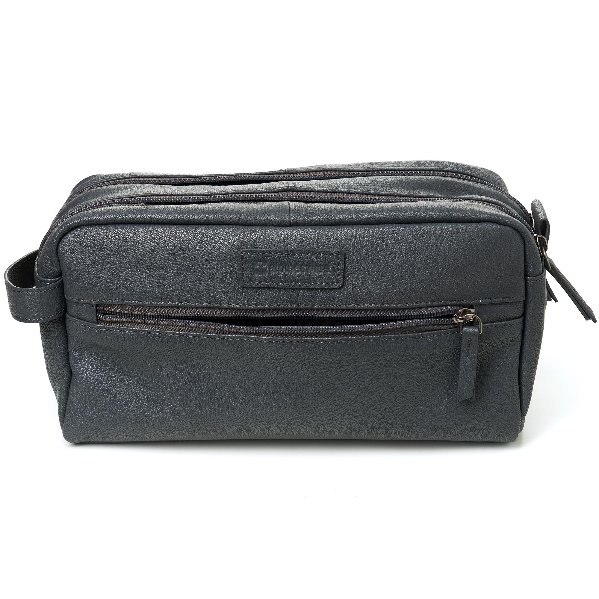 AlpineSwiss-Sedona-Toiletry-Bag-Genuine-Leather-Shaving-Kit-Dopp-Kit-Travel-Case thumbnail 29