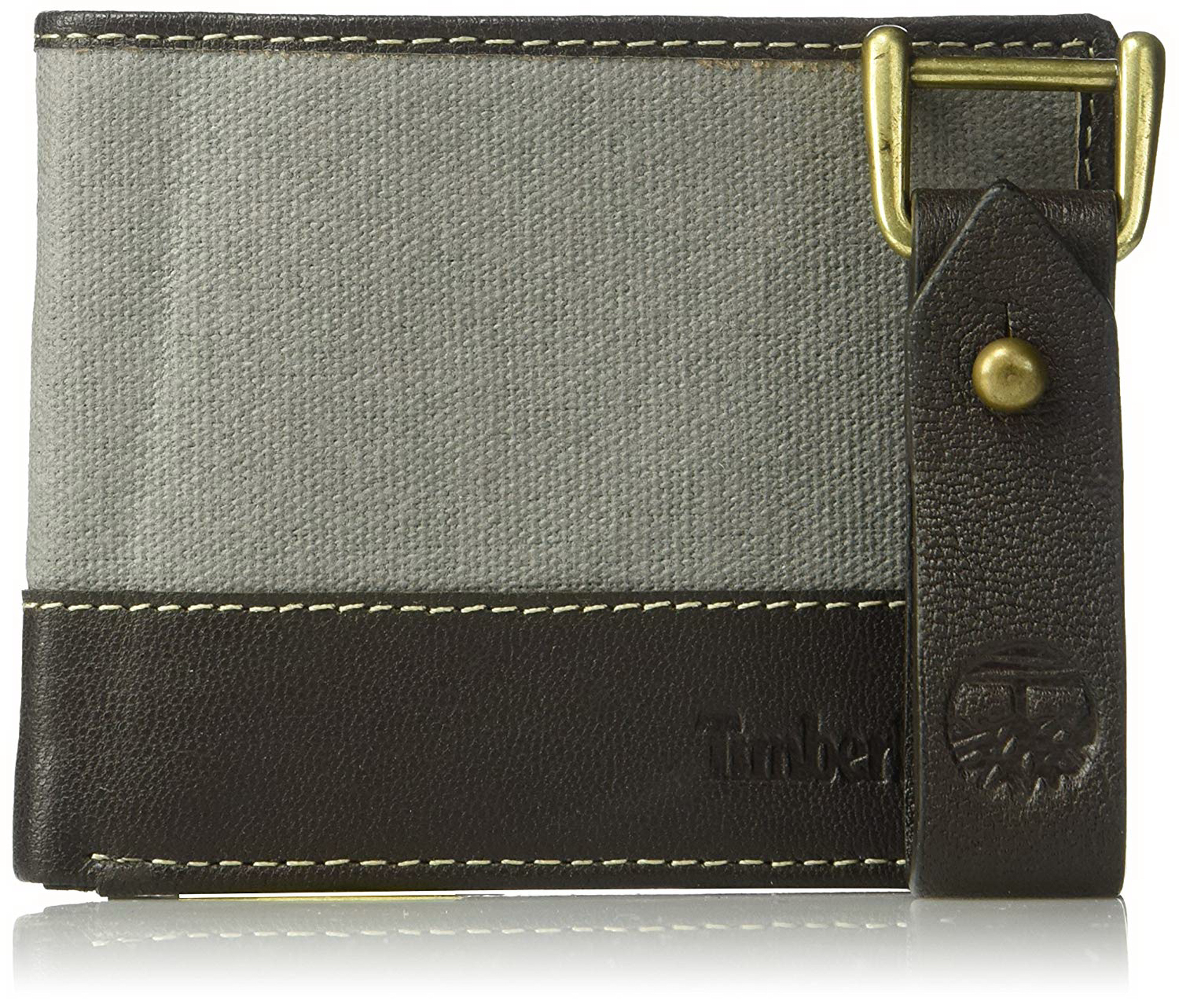 e43101db63b6 Timberland Mens Canvas and Leather Bifold Wallet with Leather Key Fob Gift  Set