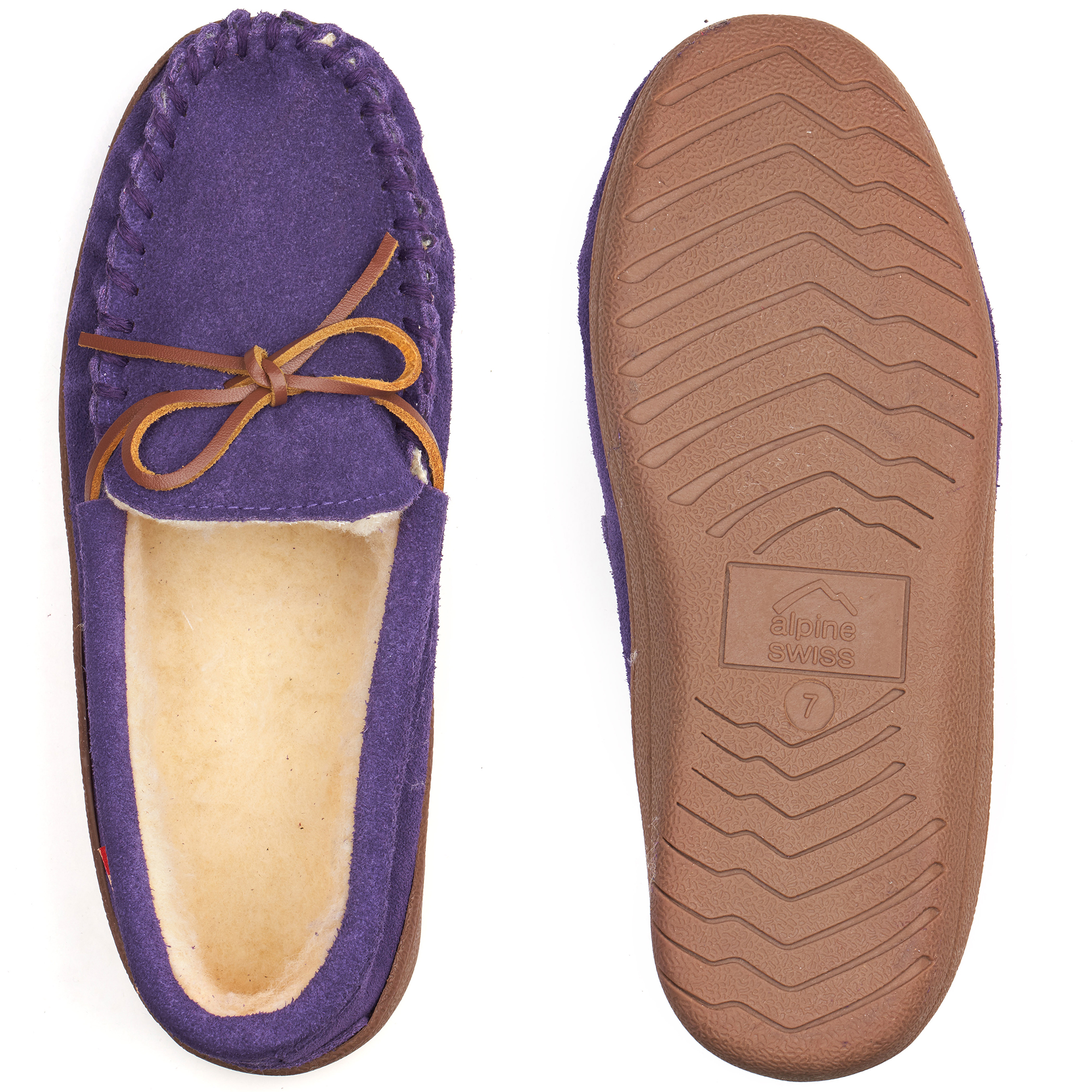 Alpine-Swiss-Sabine-Womens-Suede-Shearling-Moccasin-Slippers-House-Shoes-Slip-On miniature 39