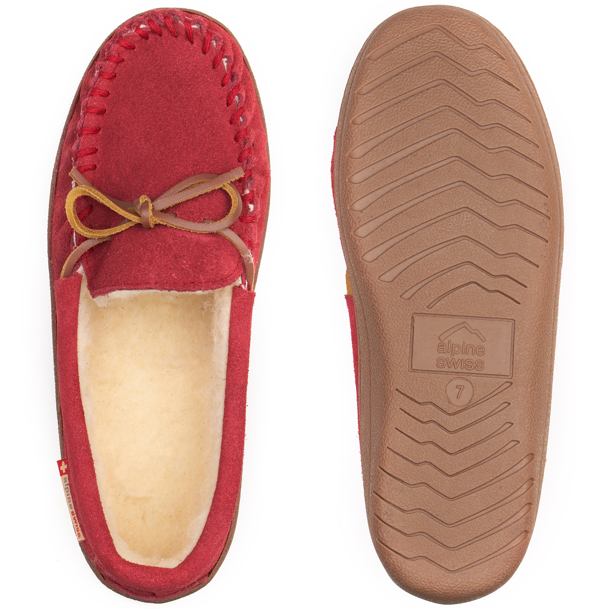 Alpine-Swiss-Sabine-Womens-Suede-Shearling-Moccasin-Slippers-House-Shoes-Slip-On miniature 46