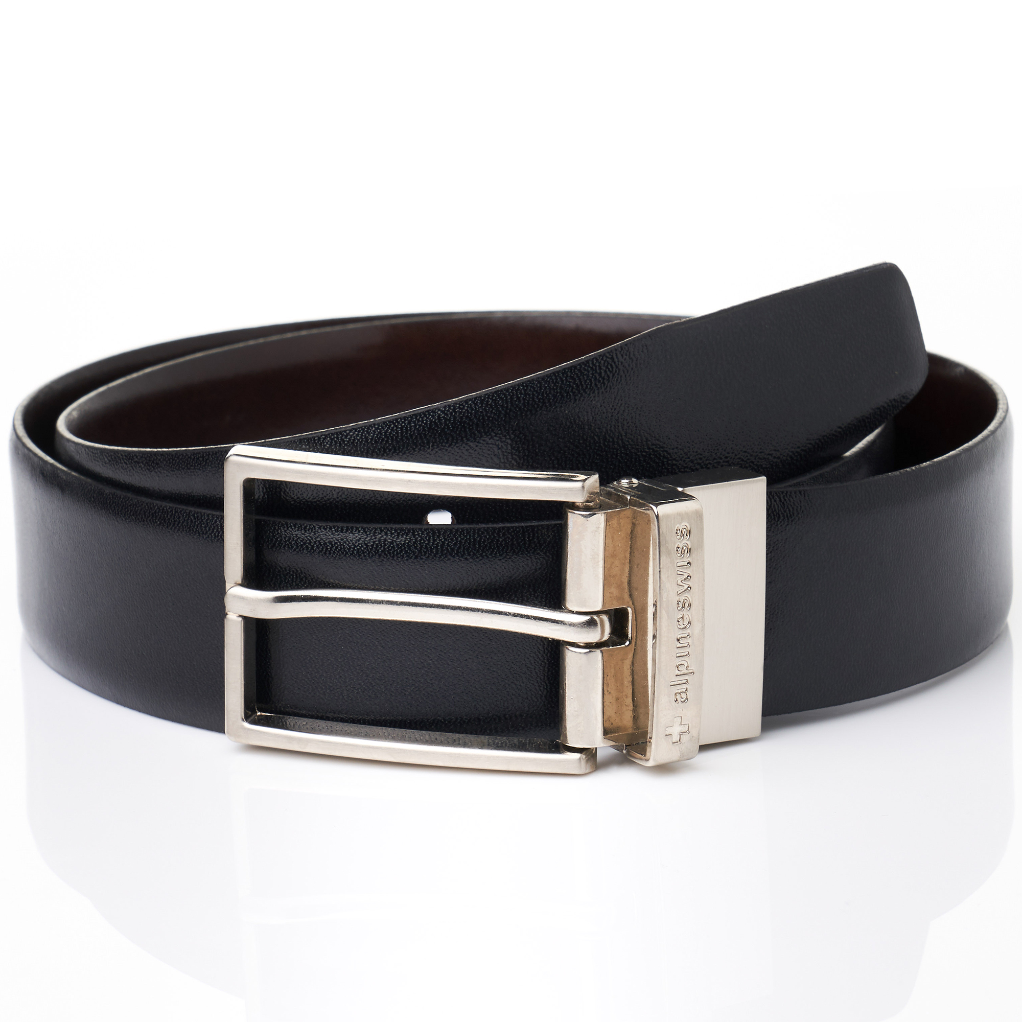 Alpine-Swiss-Mens-Dress-Belt-Reversible-Black-Brown-Leather-Imported-from-Spain thumbnail 15