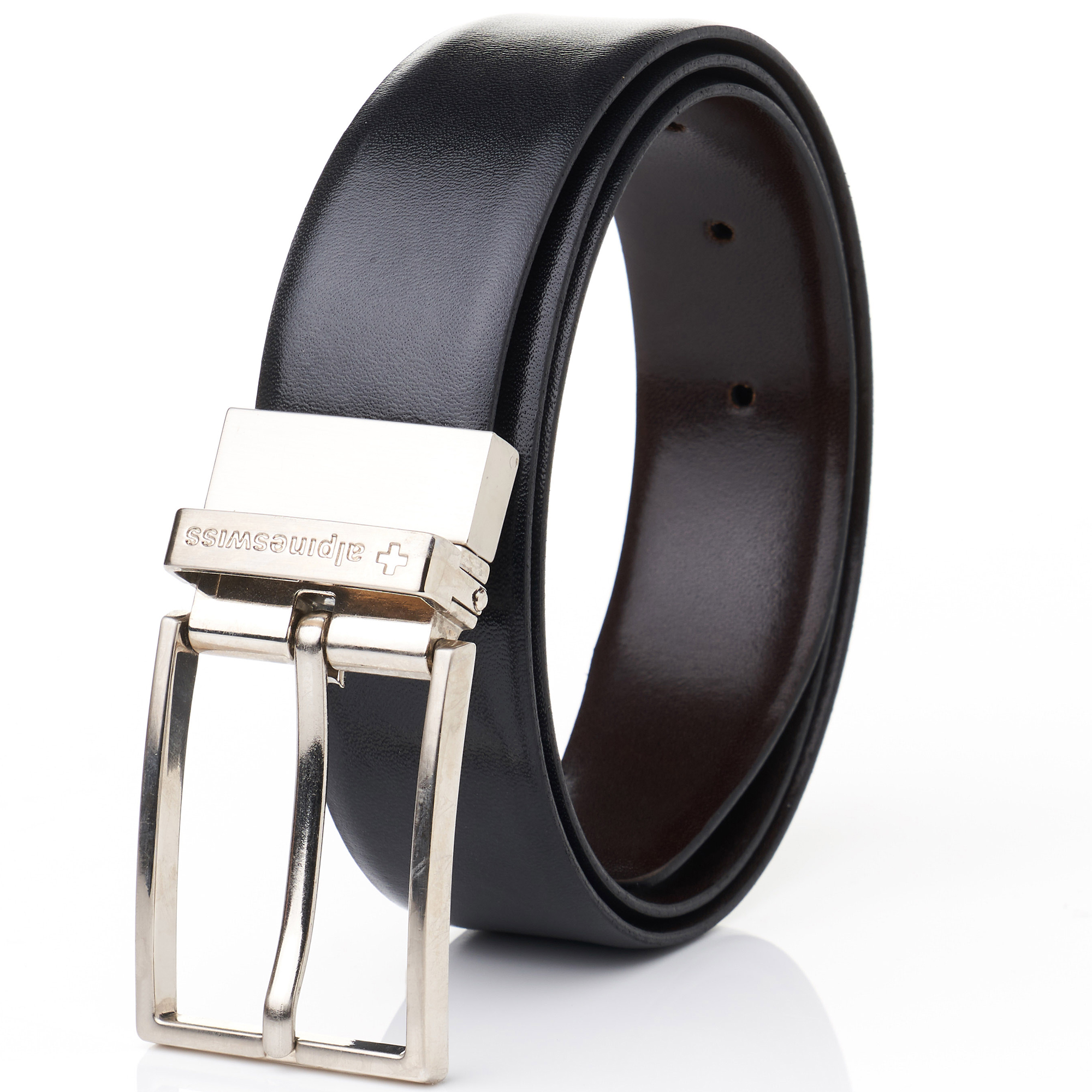Alpine-Swiss-Mens-Dress-Belt-Reversible-Black-Brown-Leather-Imported-from-Spain thumbnail 16