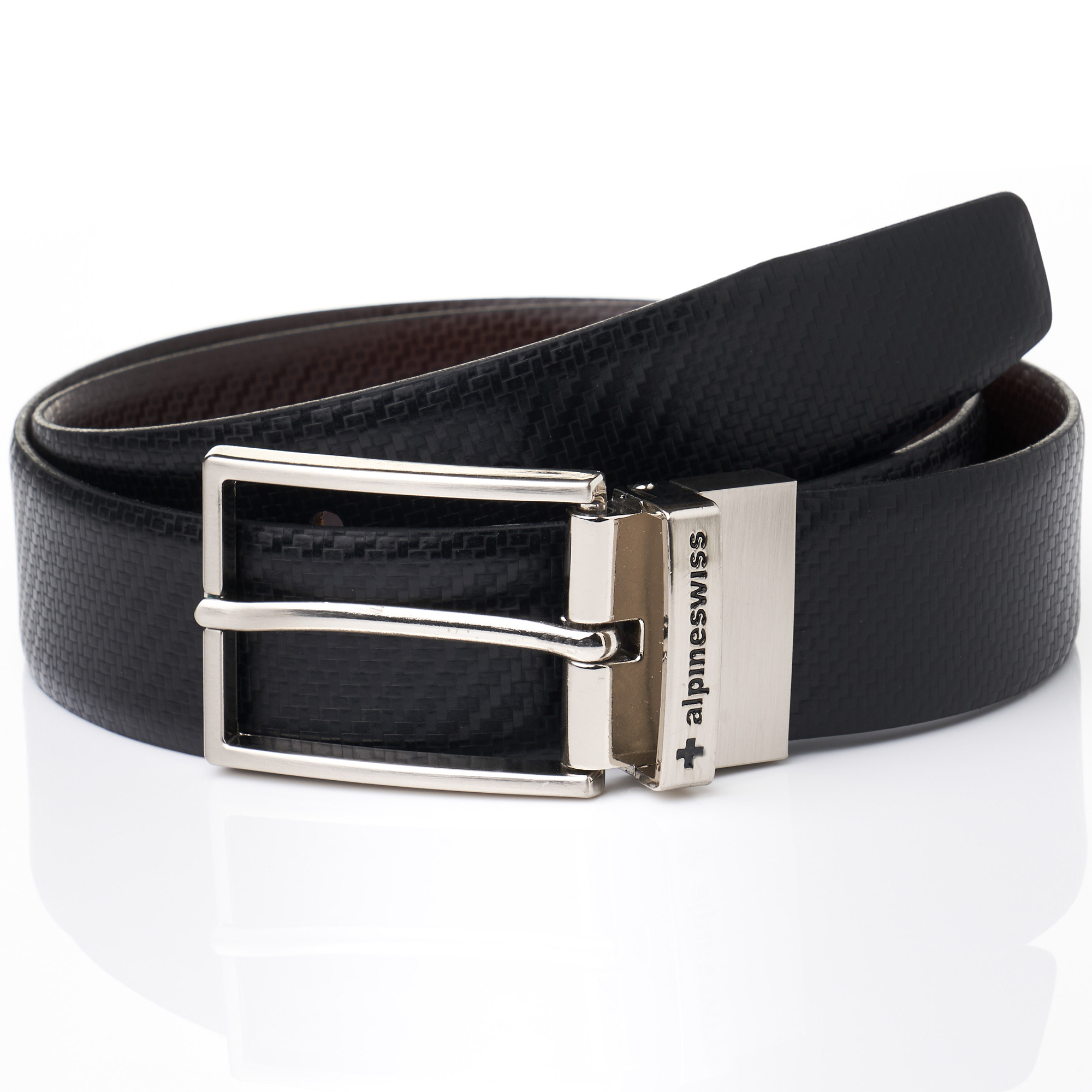 Alpine-Swiss-Mens-Dress-Belt-Reversible-Black-Brown-Leather-Imported-from-Spain thumbnail 10