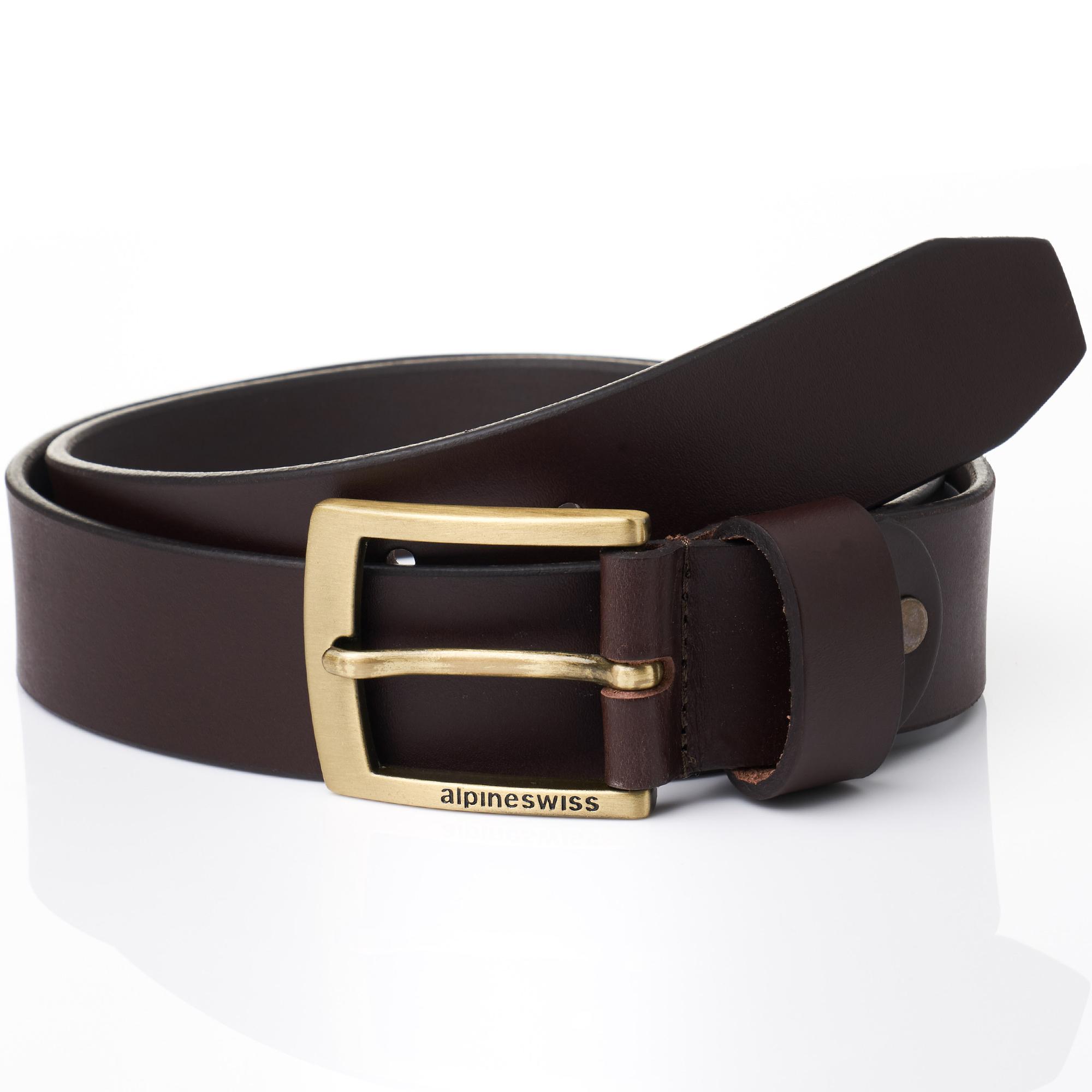 Alpine-Swiss-Mens-Leather-Belt-Slim-1-1-4-Casual-Jean-Dakota-Signature-Buckle thumbnail 15