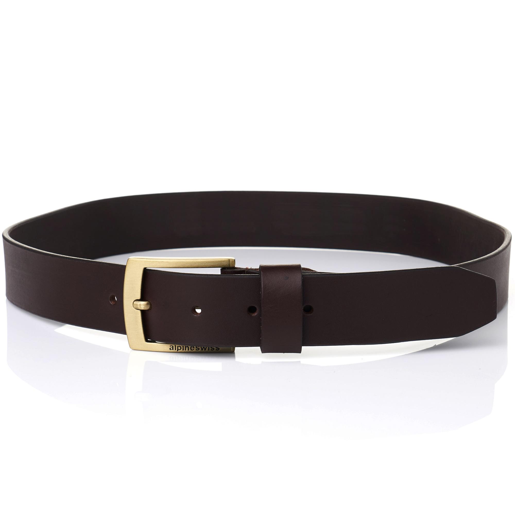 Alpine-Swiss-Mens-Leather-Belt-Slim-1-1-4-Casual-Jean-Dakota-Signature-Buckle thumbnail 19
