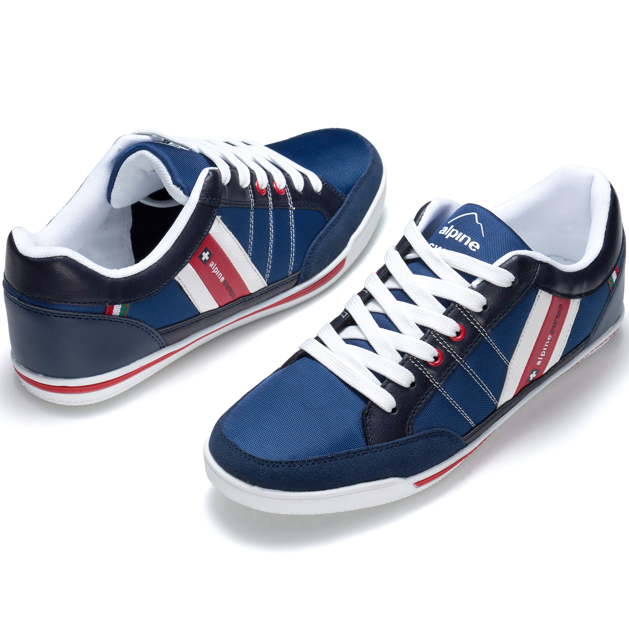 f398612dac8a Alpine Swiss Mens Stefan Navy Suede Trim Retro Fashion SNEAKERS 10 M ...