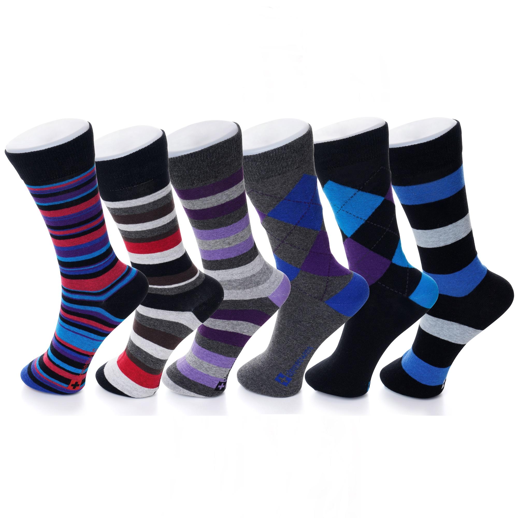 Alpine-Swiss-6-Pack-Mens-Cotton-Dress-Socks-Mid-Calf-Argyle-Pattern-Solids-Set
