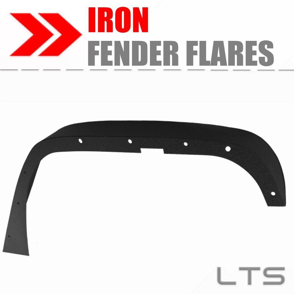 BLACK TEXTURED IRON STEEL FENDER FLARES FOR 07-18 JEEP WRANGLER JK UNLIMITED