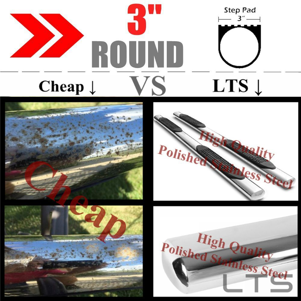 "3"" S.s Round Nerf Bar Running Board For 2005-2020 Toyota"