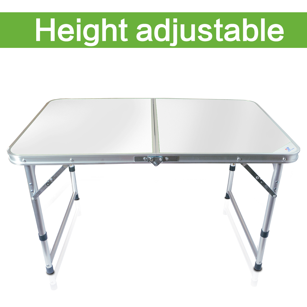 Indoor Outdoor With Carrying Handle 4ft Aluminum White Portable Folding Table