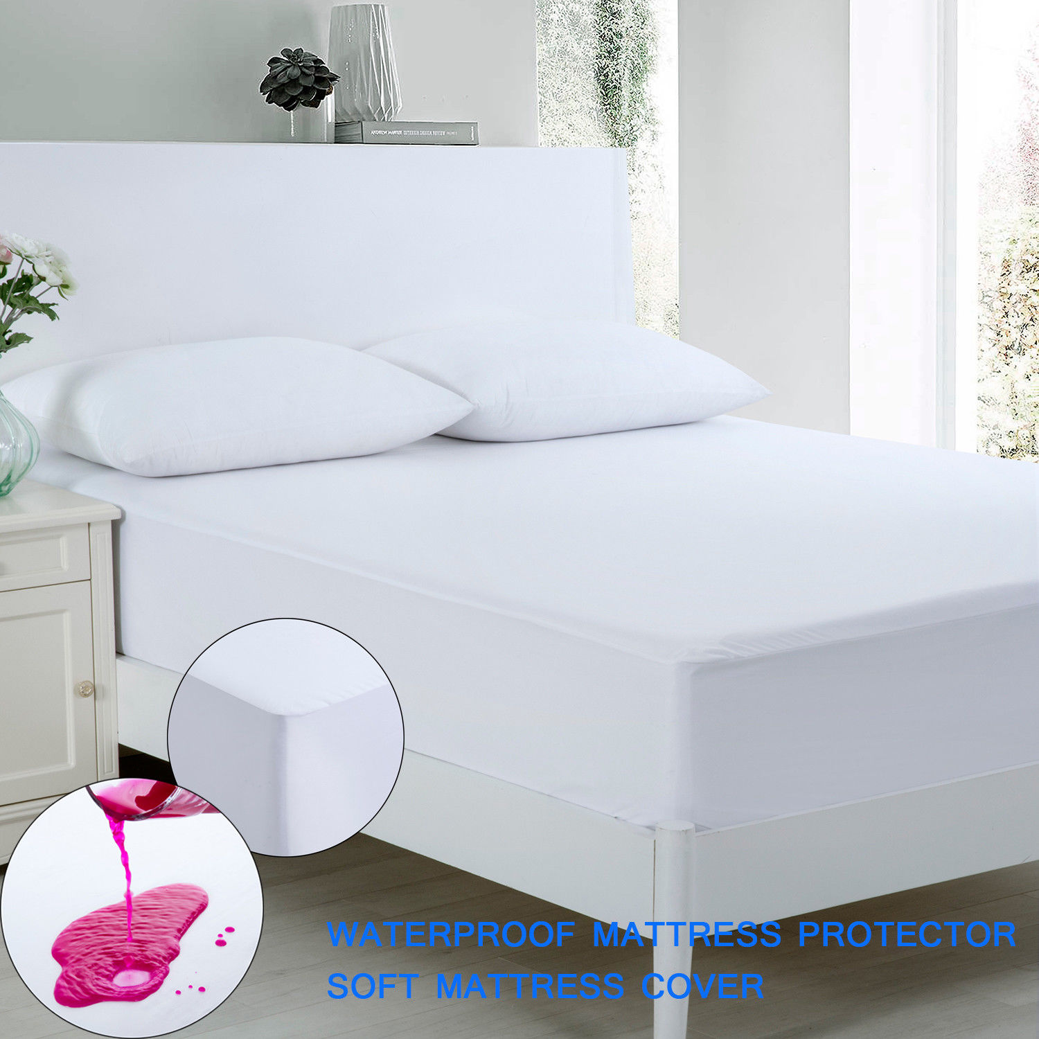 anti allergy 100 waterproof mattress protector cover twin full queen king size ebay. Black Bedroom Furniture Sets. Home Design Ideas