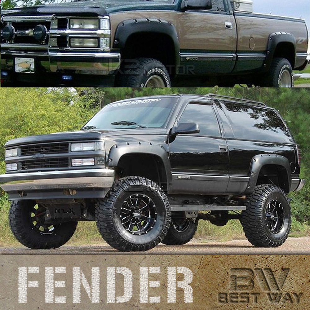 GM C//K Black Pocket Riveted Style Fender Flares Textured 1988-1998 Chevy